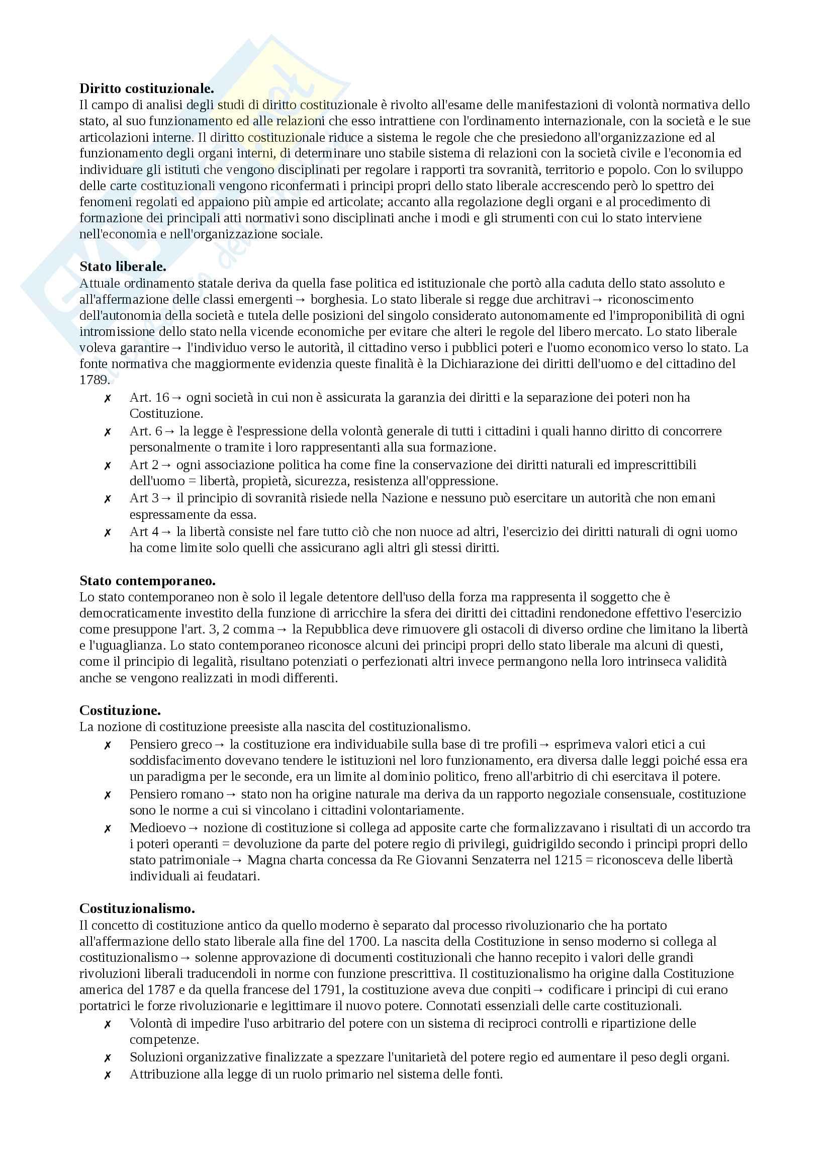 Riassunto esame diritto Costituzionale, prof Ceccherini, libri consigliati L'organizzazione costituzionale dello Stato, Rolla e L'organizzazione territoriale della repubblica e la giustizia costituzionale di Rolla
