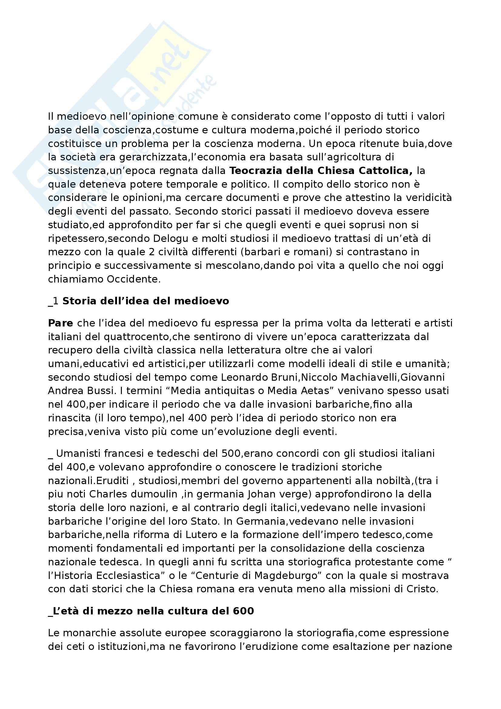 Riassunto esame Storia medievale, prof. Benvenuti, libro consigliato Introduzione alla storia medievale, Delogu