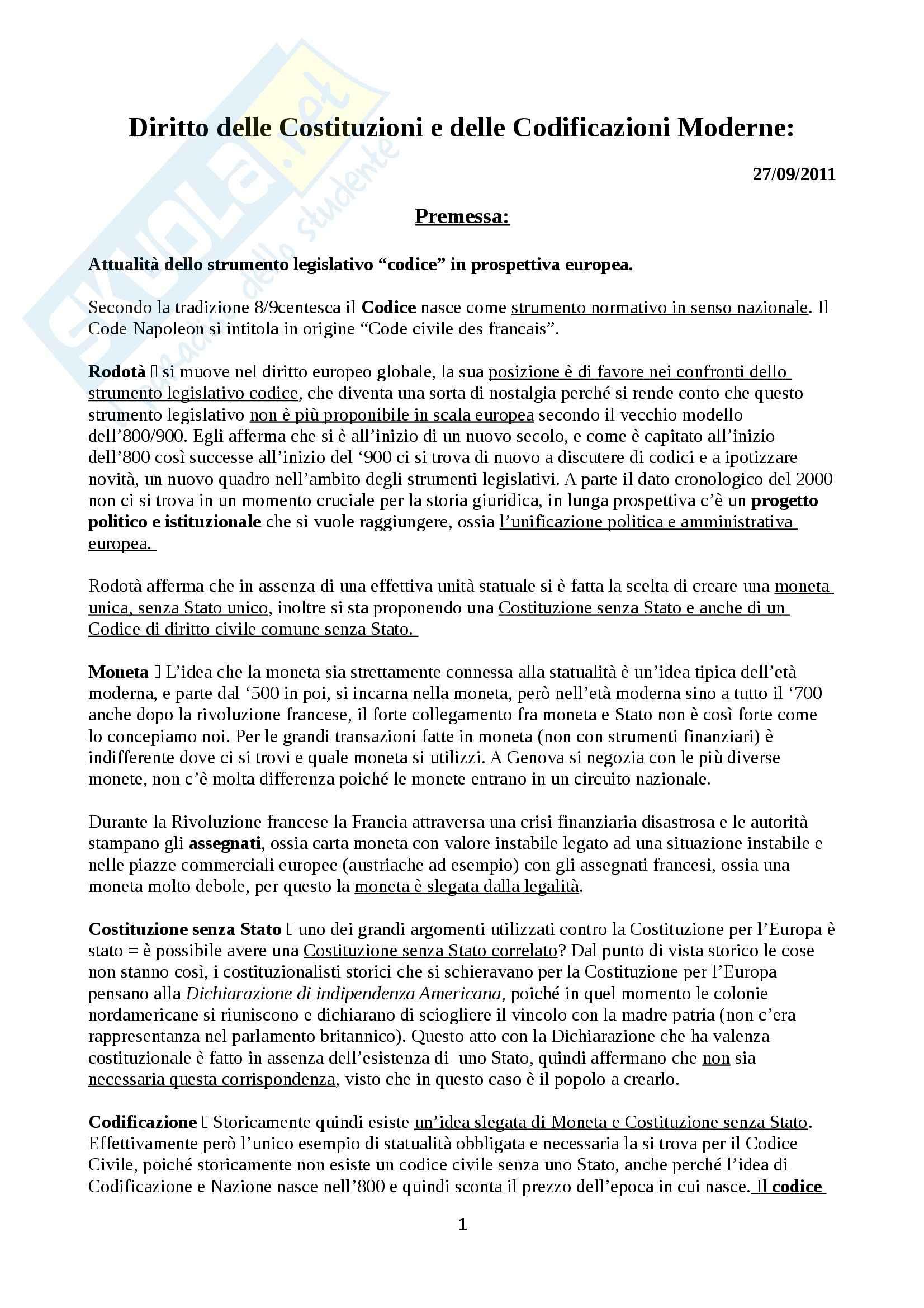 appunto R. Ferrante Storia delle codificazioni e delle costituzioni moderne