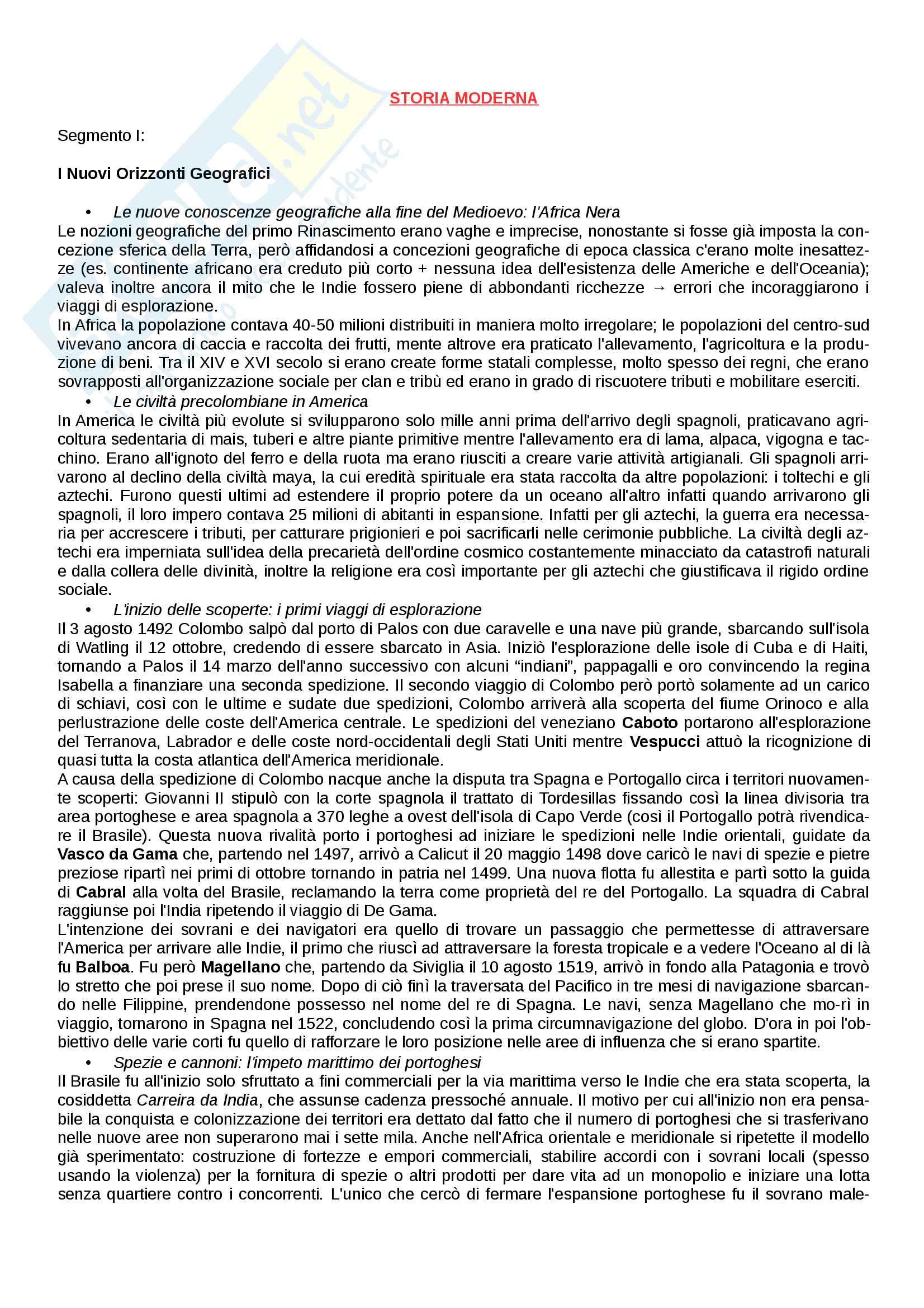"""Riassunto esame Storia Moderna, prof. Melani Igor, libro consigliato """"Storia Moderna"""", Capra"""
