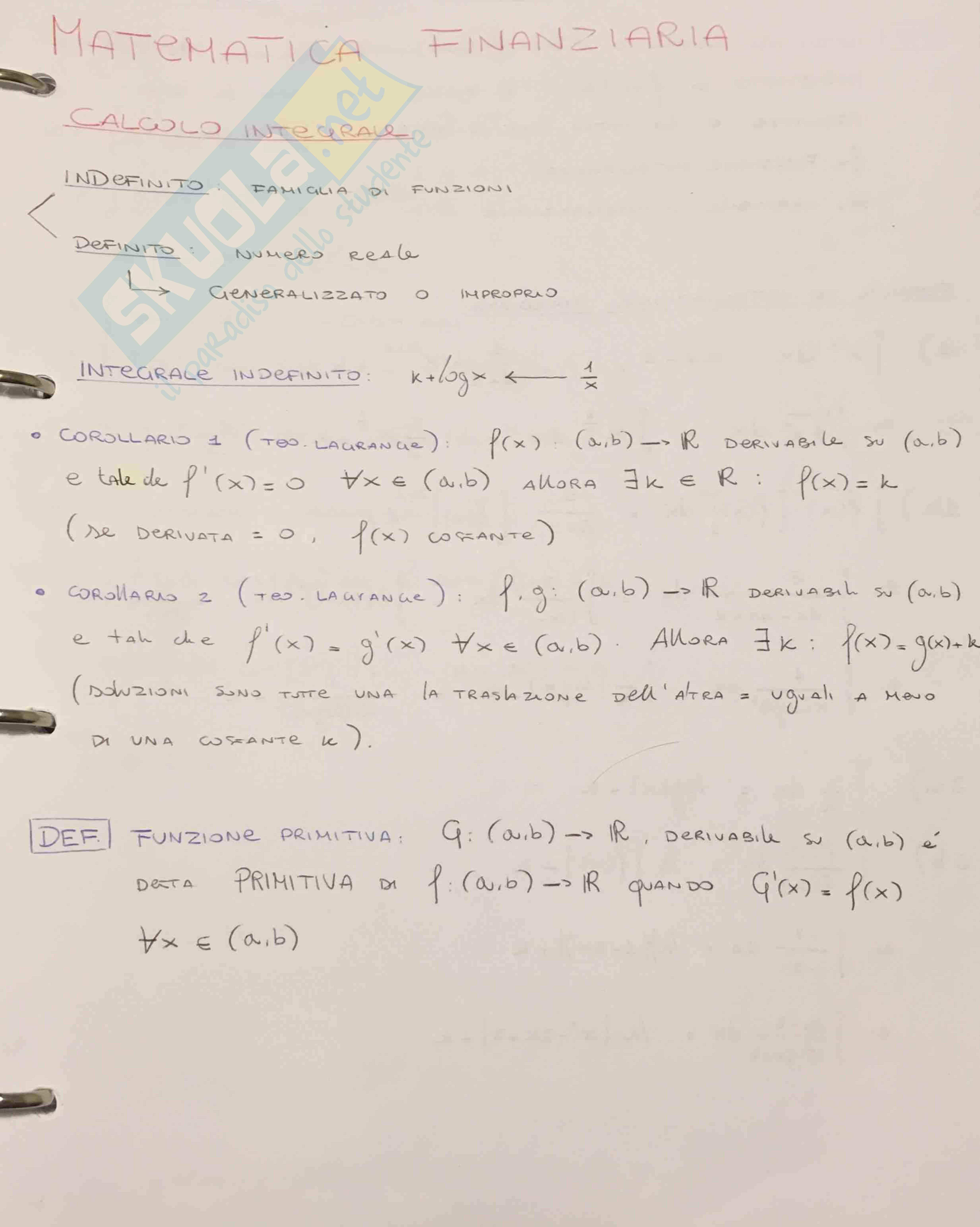 Appunti primo parziale matematica finanziaria (anno 1) - Bocconi