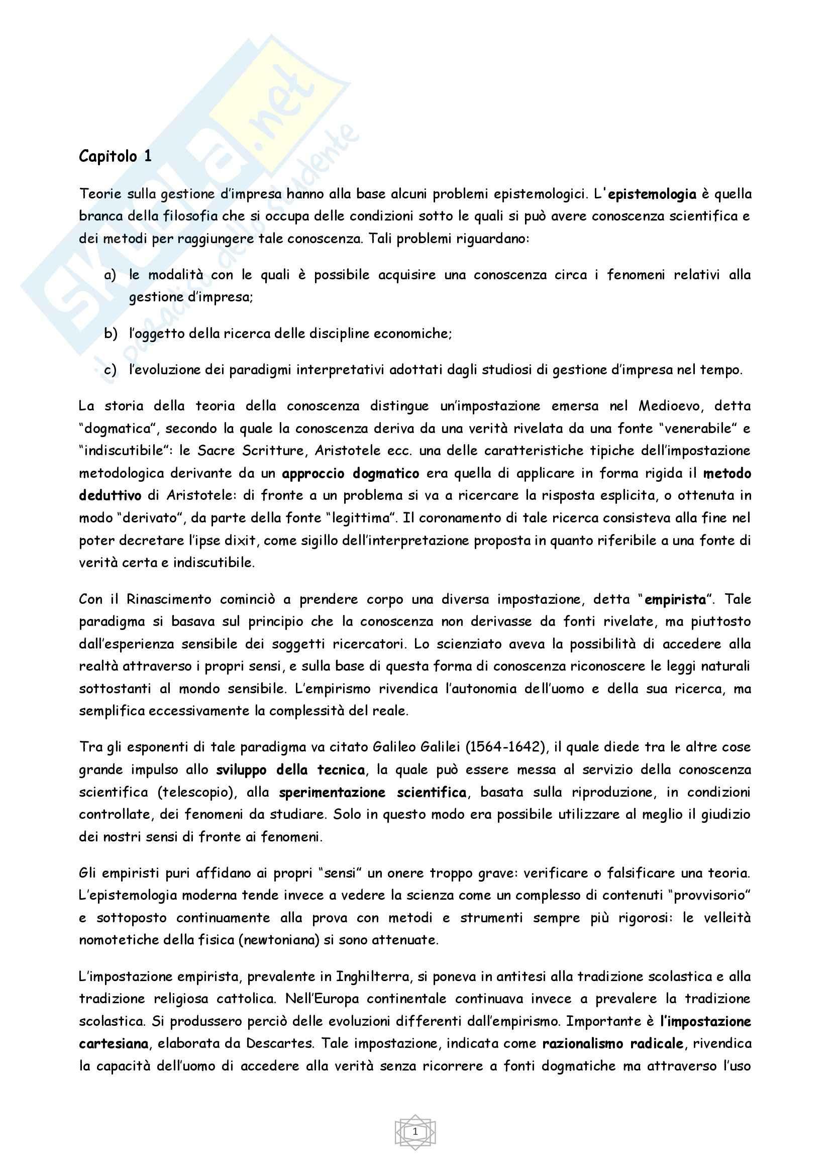 Riassunto esame Economia, prof. Porcheddu, libro consigliato Economia e Gestione delle Imprese, Volpato