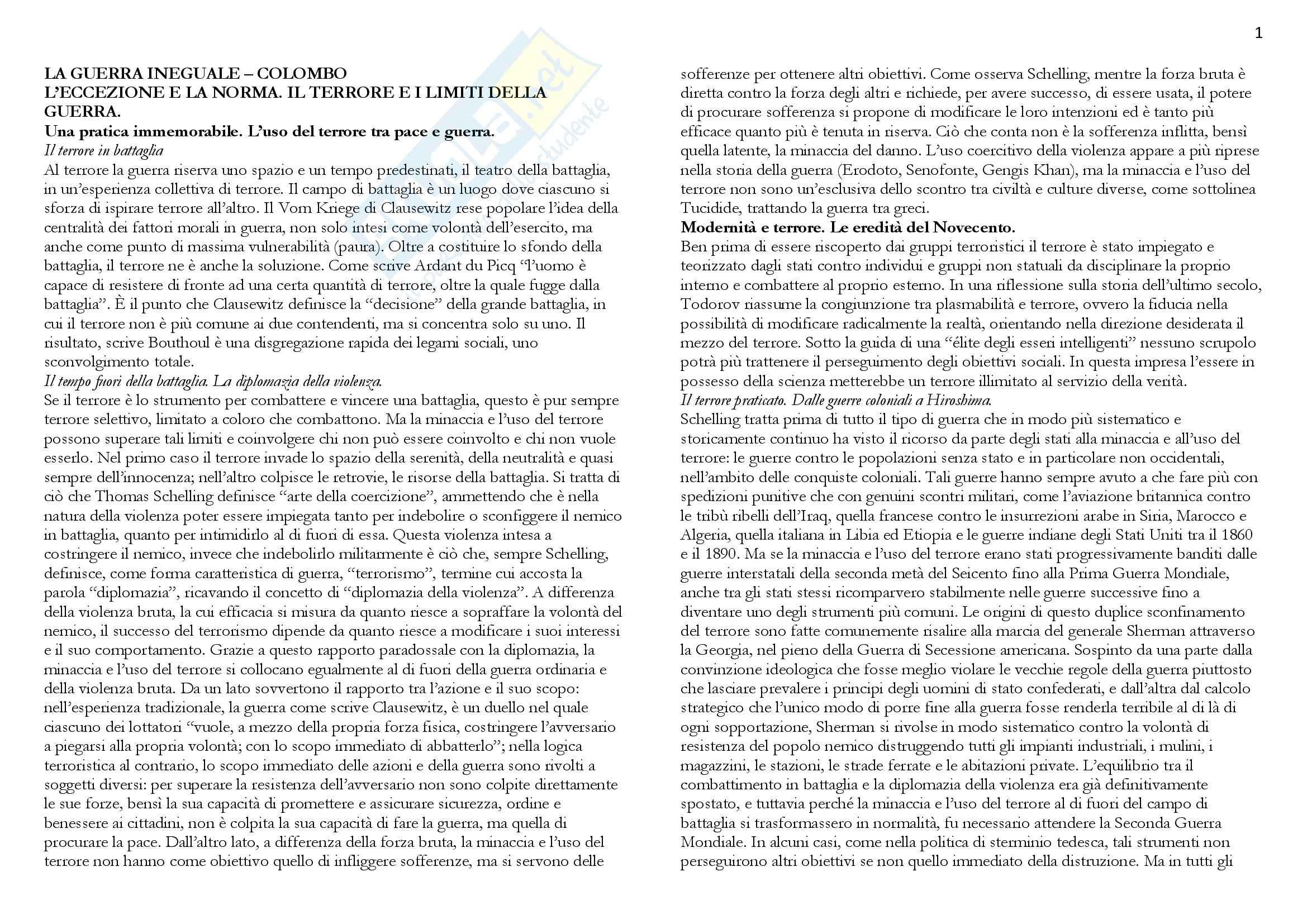 Riassunto esame Politica internazionale, prof. Barbara, libro consigliato La guerra ineguale, Colombo