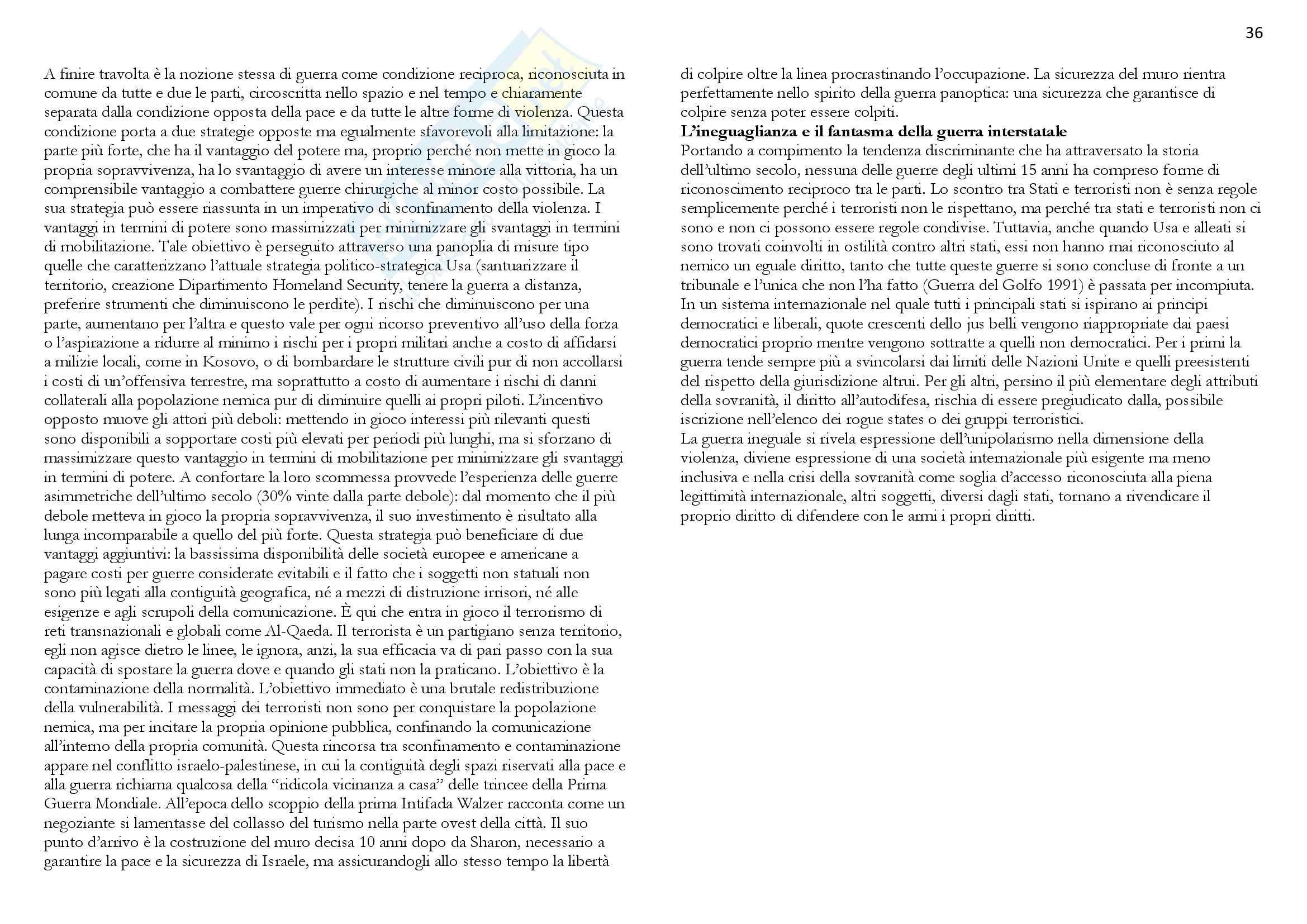 Riassunto esame Politica internazionale, prof. Barbara, libro consigliato La guerra ineguale, Colombo Pag. 36