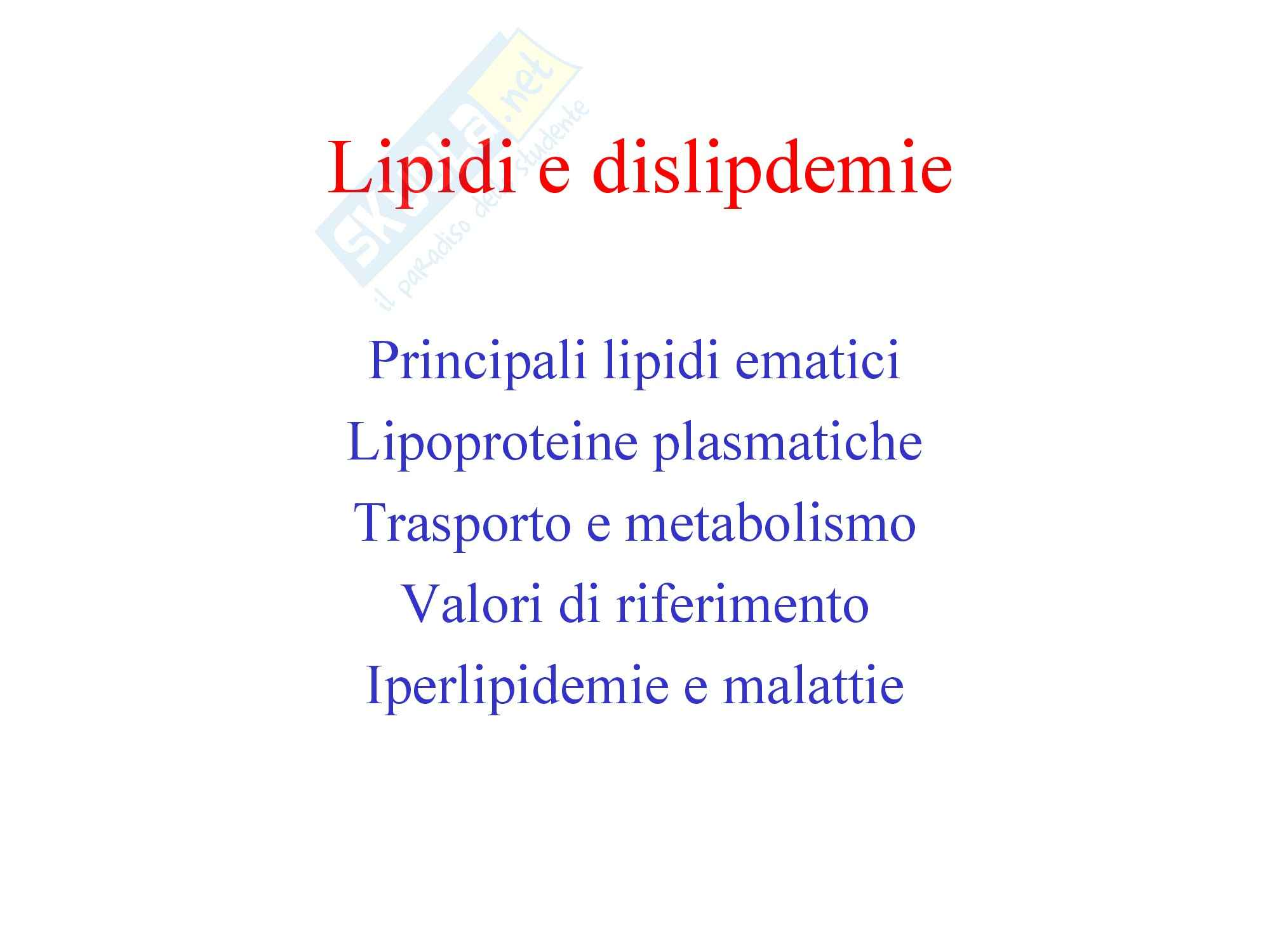 Biochimica Clinica - Lipidi