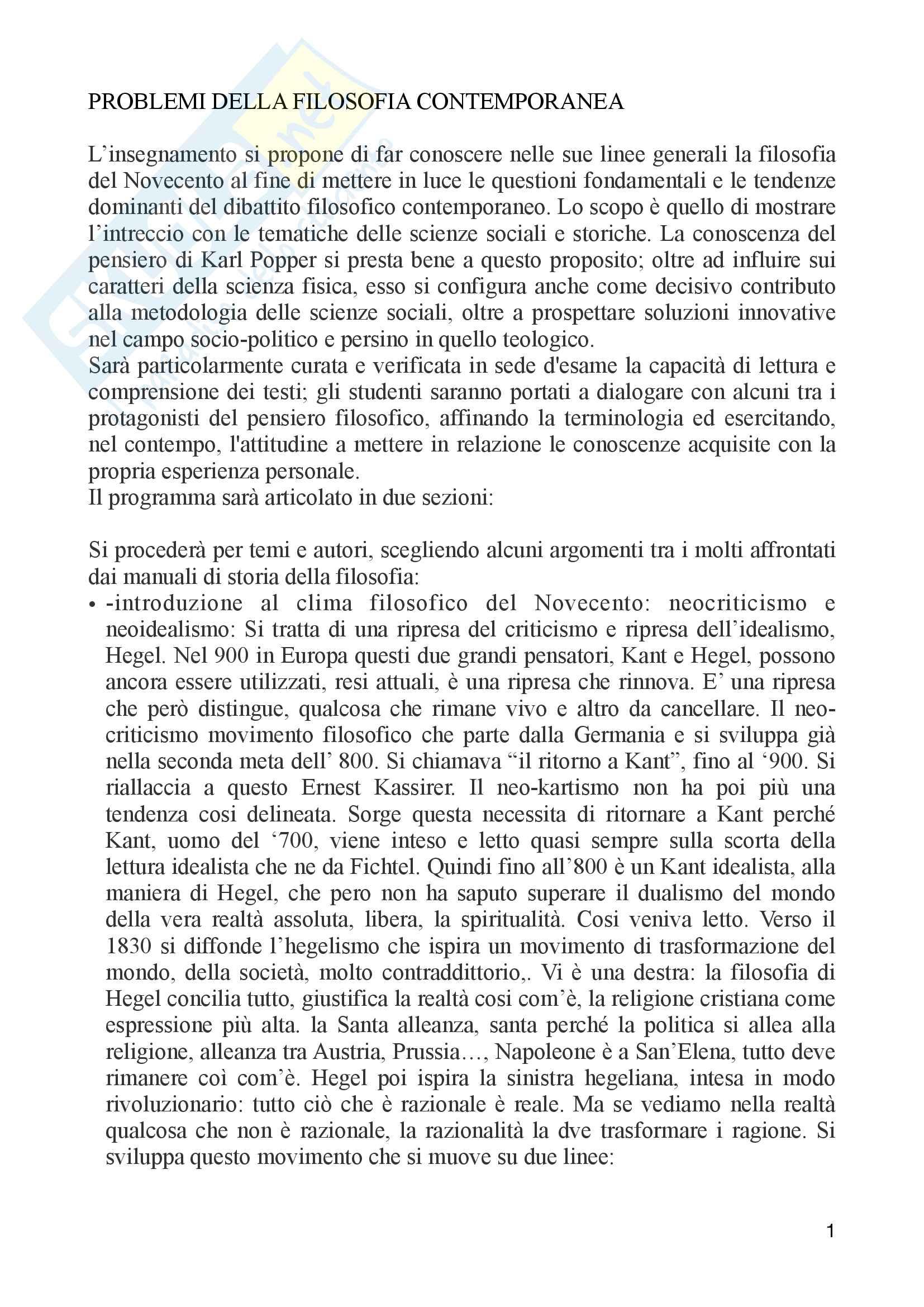 Riassunto esame Problemi della filosofia contemporanea, docente Longo, libro consigliato Logica della ricerca e società aperta, Popper
