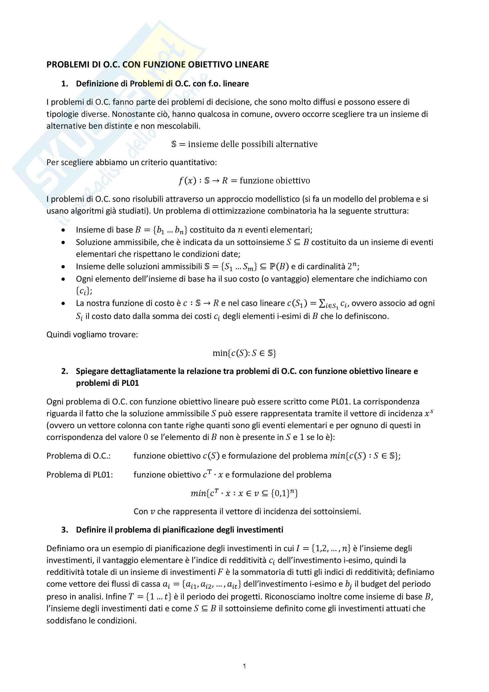 Ottimizzazione Combinatoria - Domande e Risposte Esame