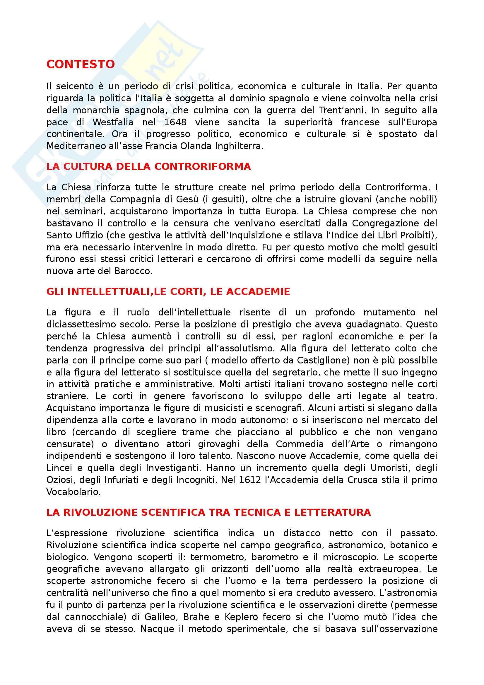 Letteratura italiana - Seicento Pag. 2