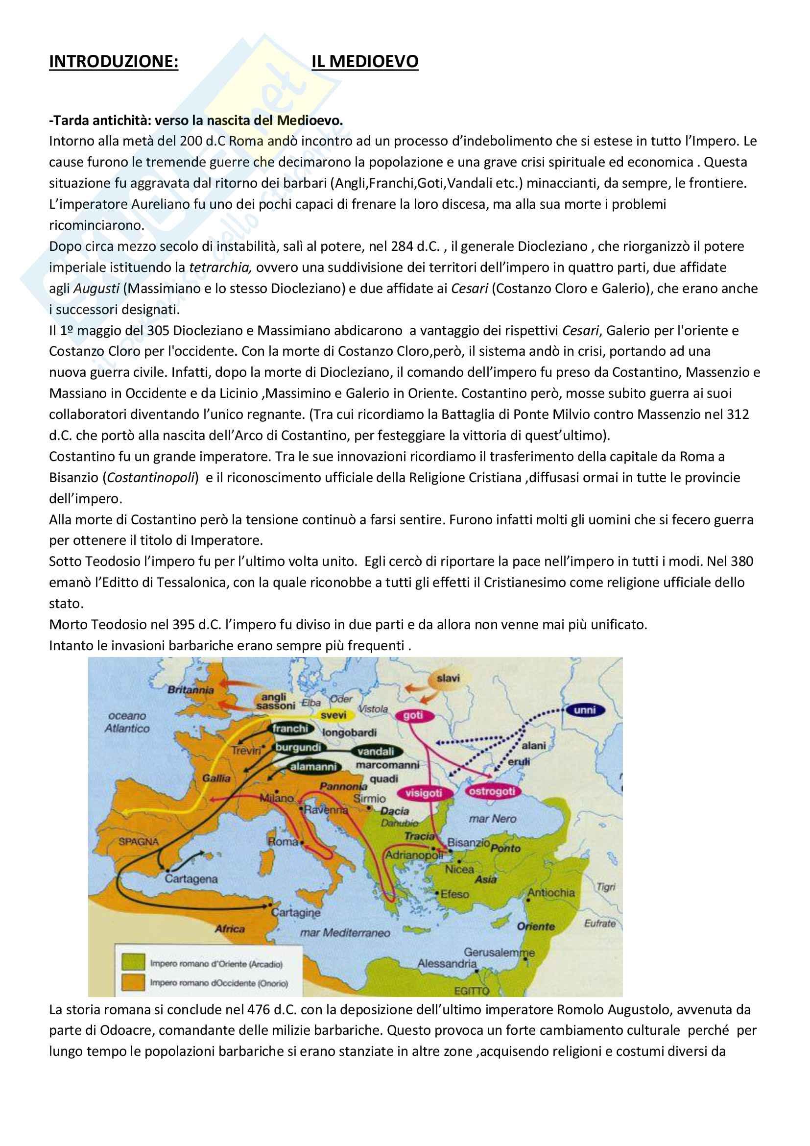 Riassunto  introduzione al medioevo esame Storia dell'arte medievale, prof. Zanichelli-Vaccaro, libro consigliato Arte nel tempo, Cerchiari-De Vecchi