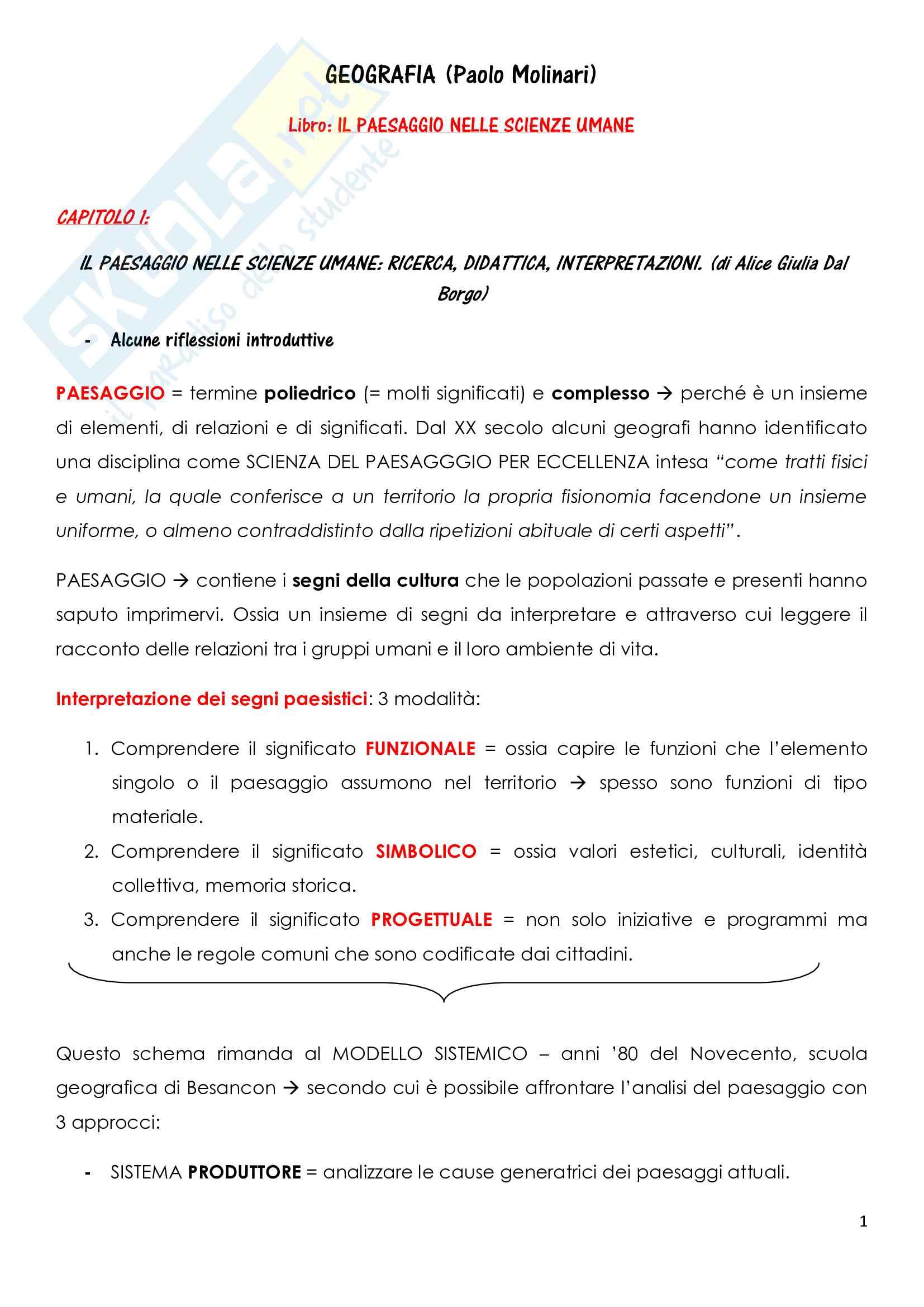 Riassunto esame Geografia, docente Molinari, libro consigliato Il paesaggio nelle scienze umane, Dal Borgo, Gavinelli