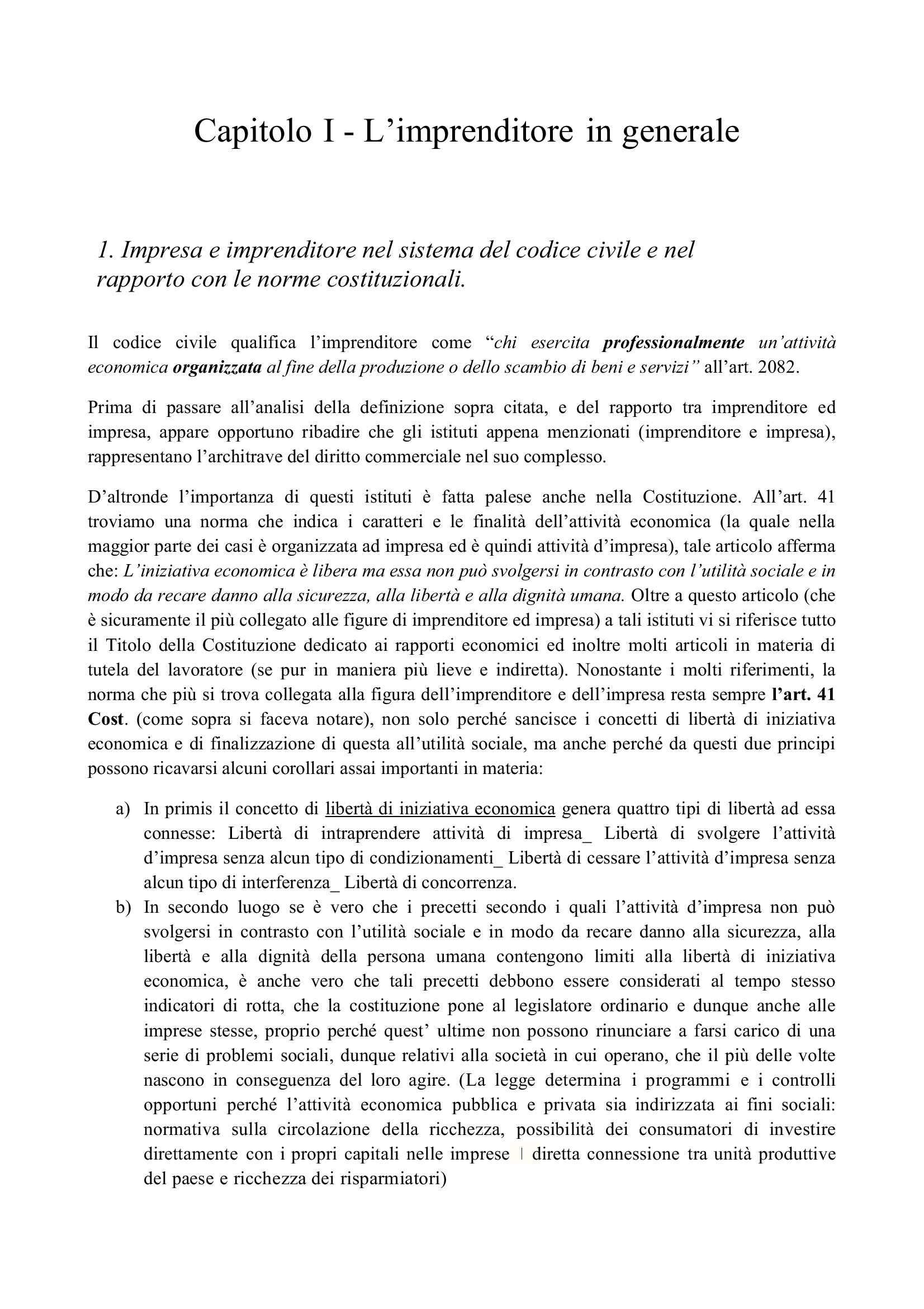 Riassunto esame Diritto Commerciale, prof. Di Cecco, libro consigliato Buonocore