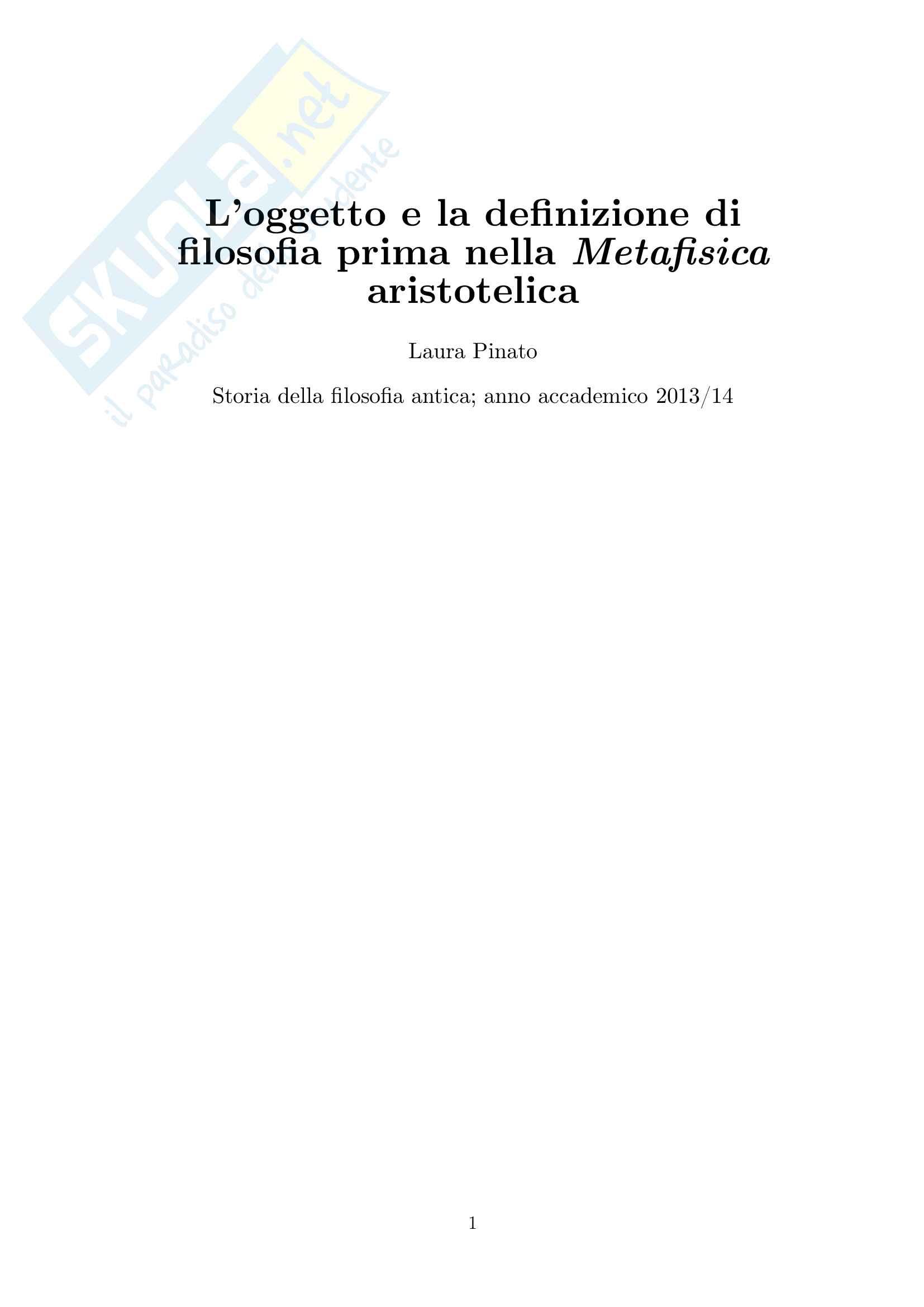 Relazione Storia della Filosofia antica: Laura Pinato