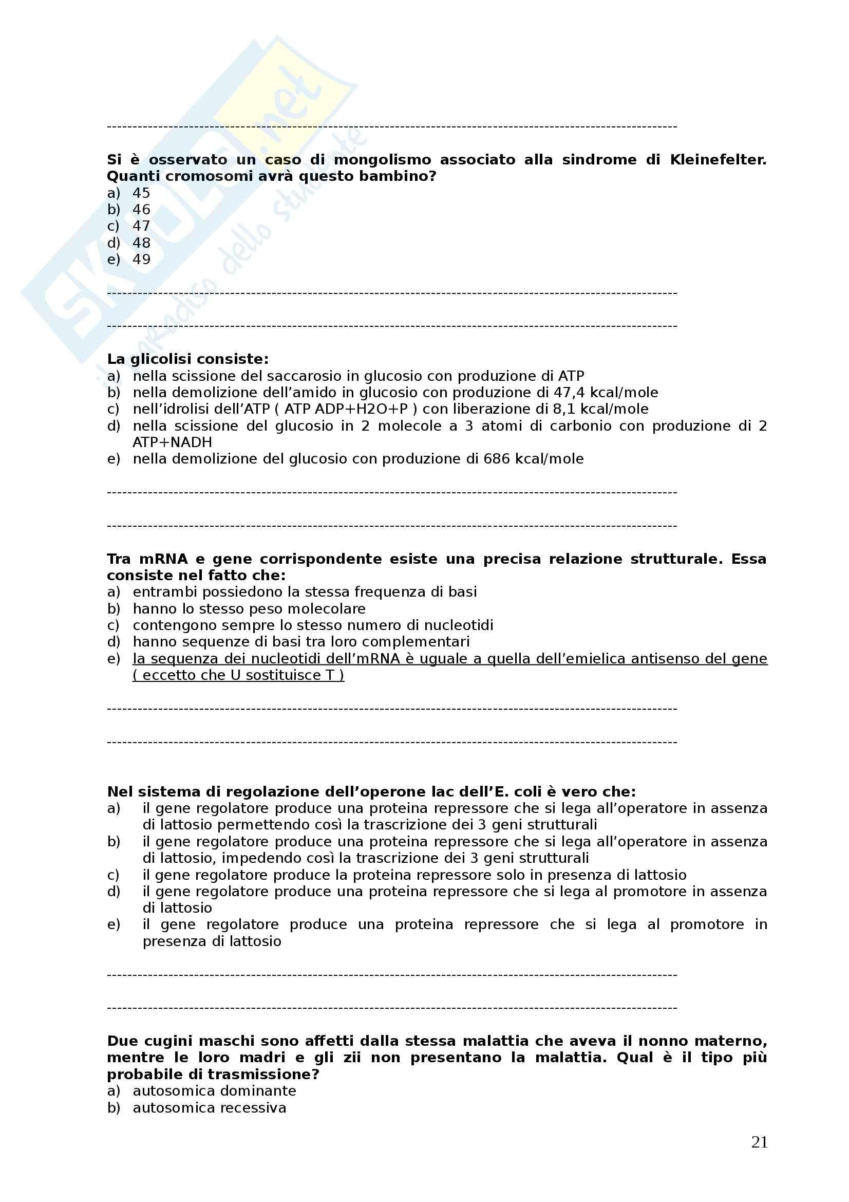 Biologia generale - Domande Pag. 21