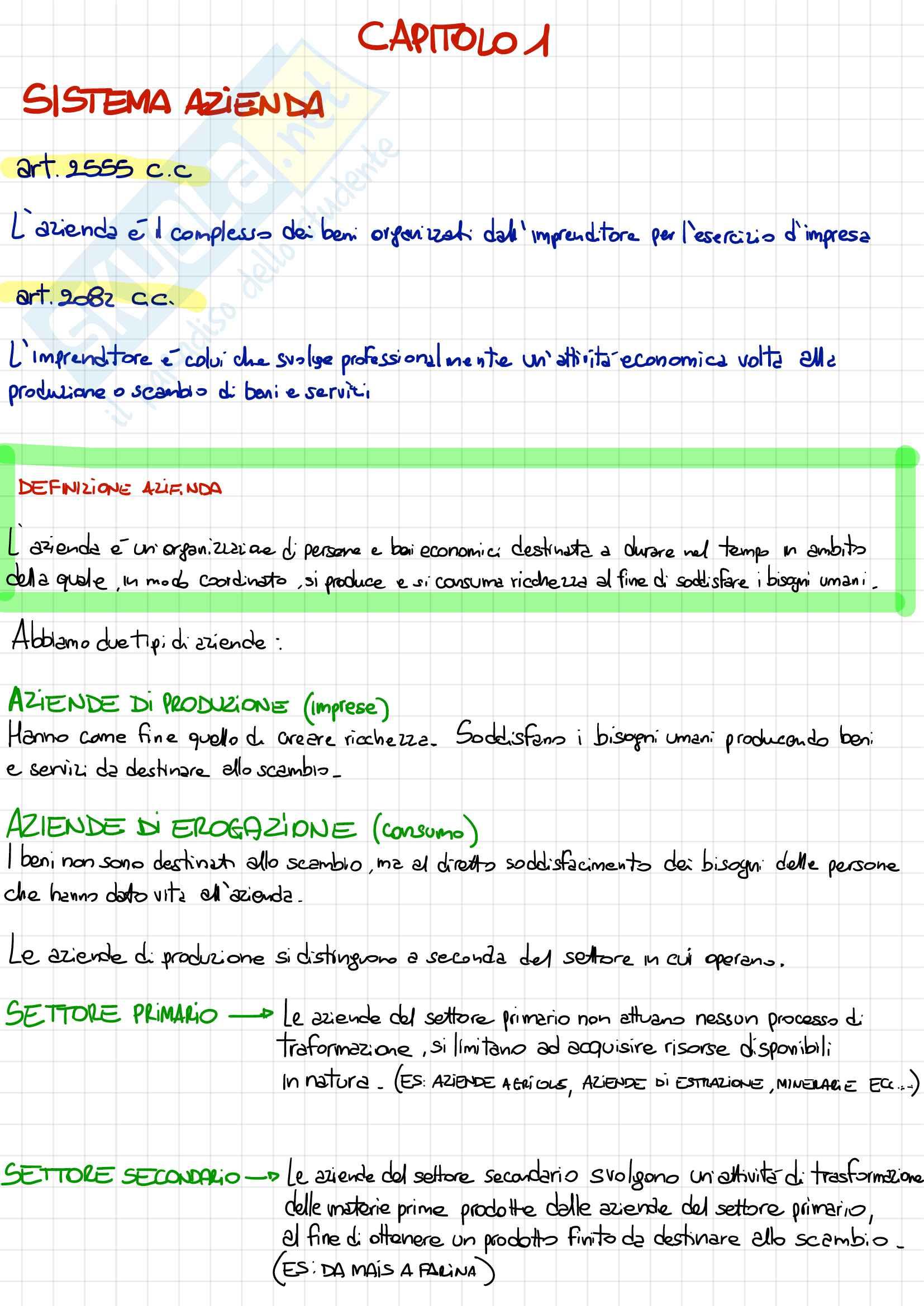 Economia aziendale - Appunti dettagliati per l'esame