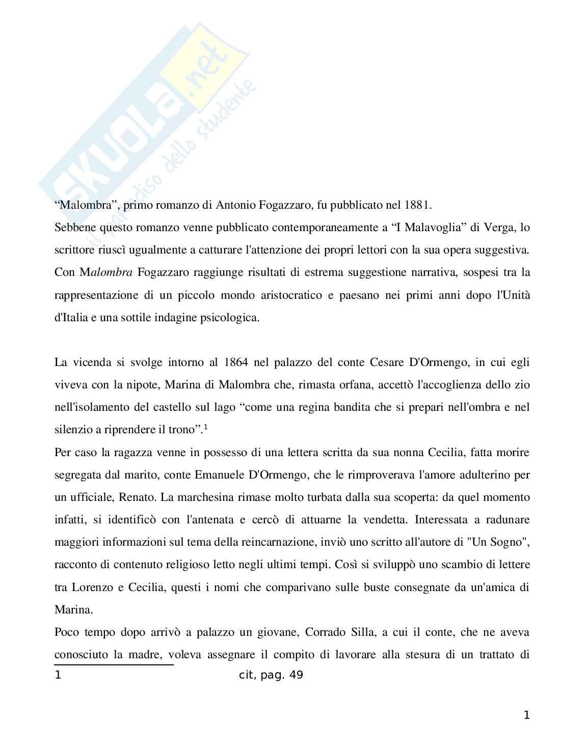 Riassunto esame Letteratura Italiana, prof. Bartolini, libro consigliato Malombra, Fogazzaro