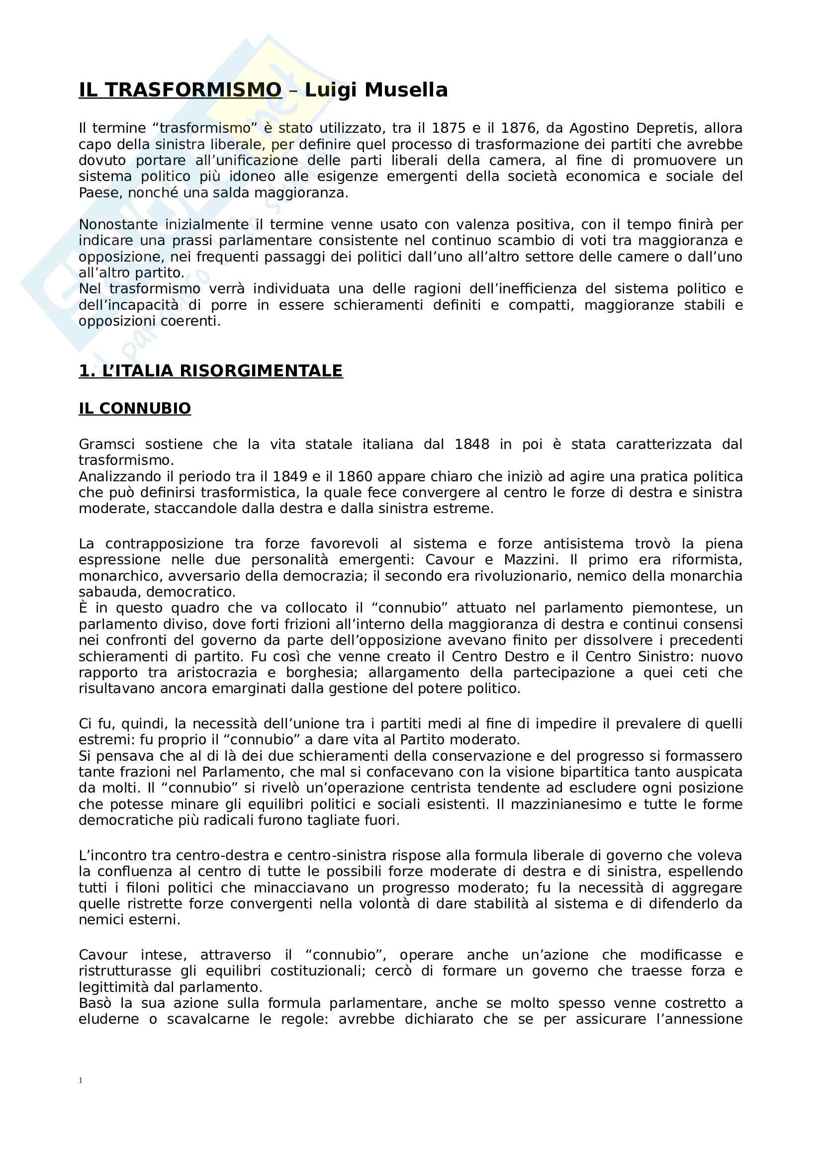 Riassunto esame Storia contemporanea, prof. Della Penna, libro consigliato Il Trasformismo, Musella