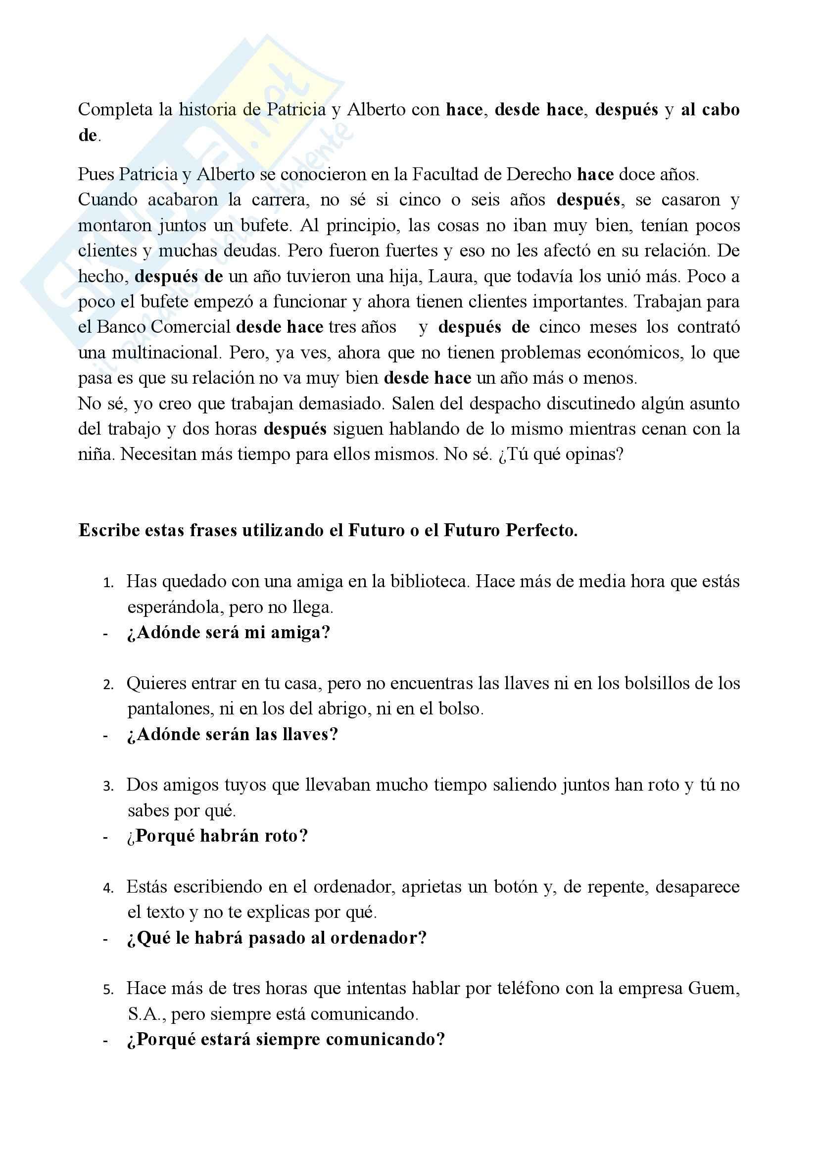 Lingua spagnola 1 - Esercizio sulle espressioni temporali