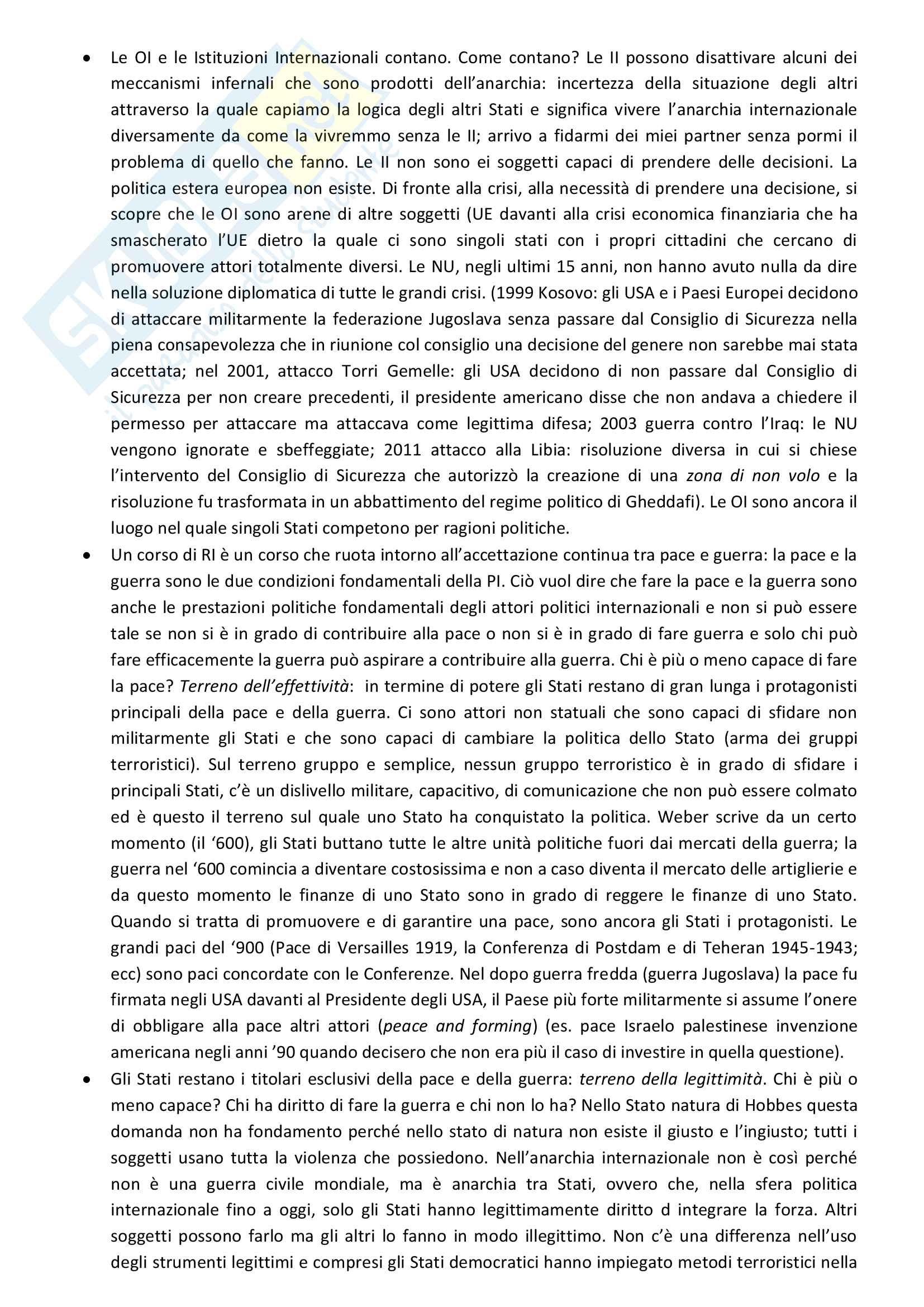 Sunto di Relazioni internazionali, prof. Colombo,UNIMI Pag. 2