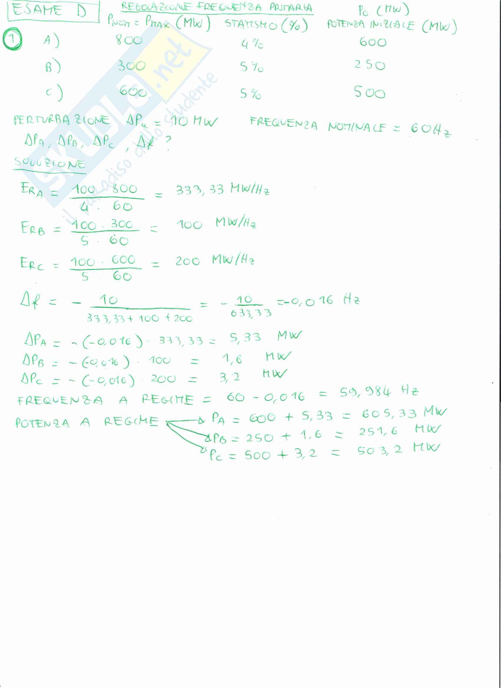 Simulazione d'esame di Sistemi di Produzione e Conversione dell'Energia Elettrica T