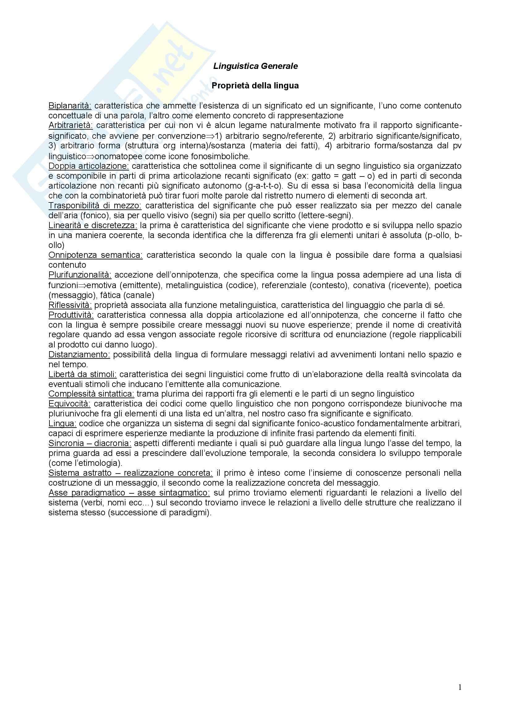 Riassunto esame Linguistica Generale, prof. Benvenuto, libro consigliato La linguistica: Un corso introduttivo, Berruto