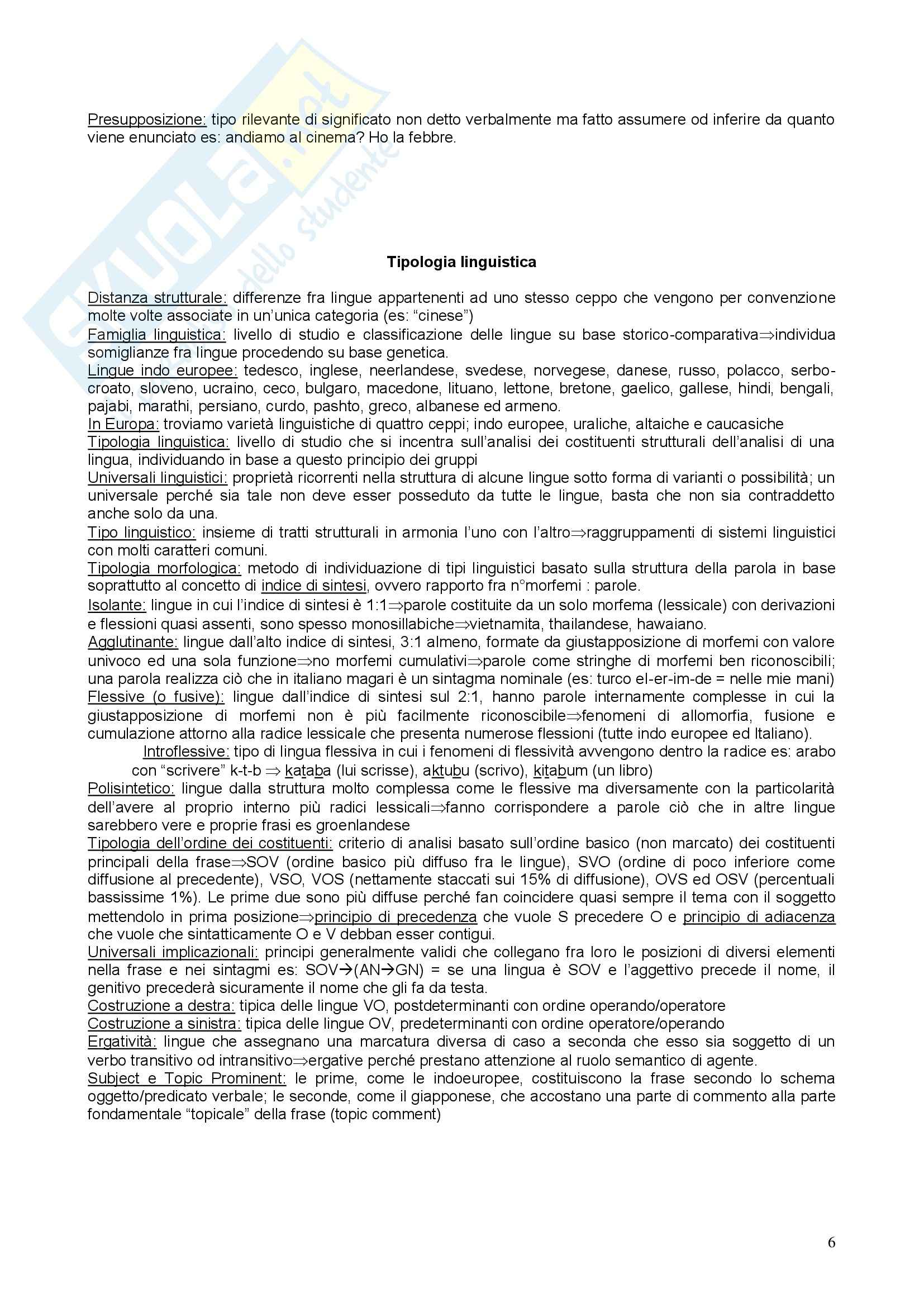 Riassunto esame Linguistica Generale, prof. Benvenuto, libro consigliato La linguistica: Un corso introduttivo, Berruto Pag. 6