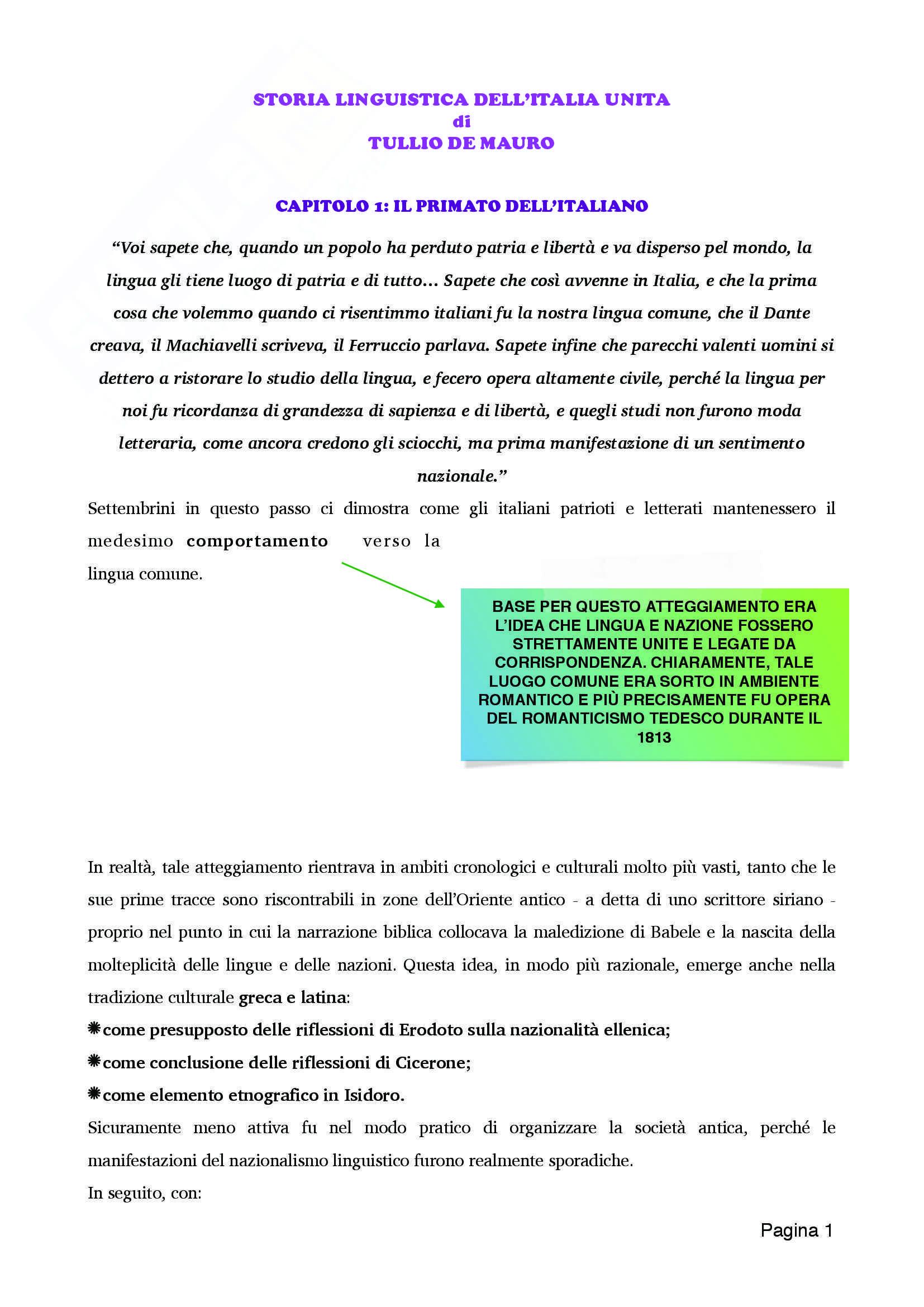 Riassunto esame Glottologia e linguistica, prof. Orioles, libro consigliato Storia linguistica dell'Italia unita, De Mauro