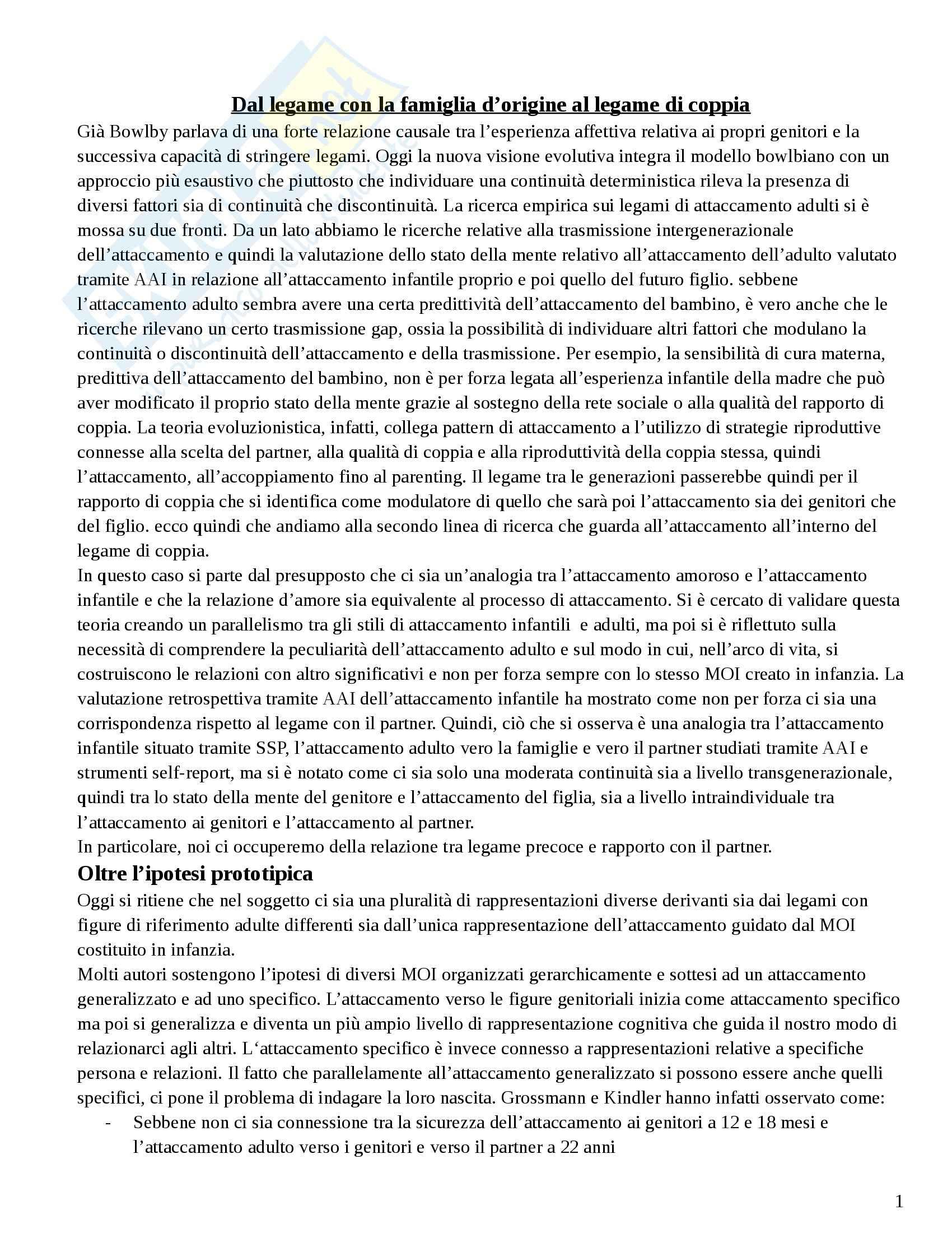 Riassunto esame Configurazioni Familiari a Rischio, prof. Carli, libro consigliato Psicologia delle Relazioni di Coppia