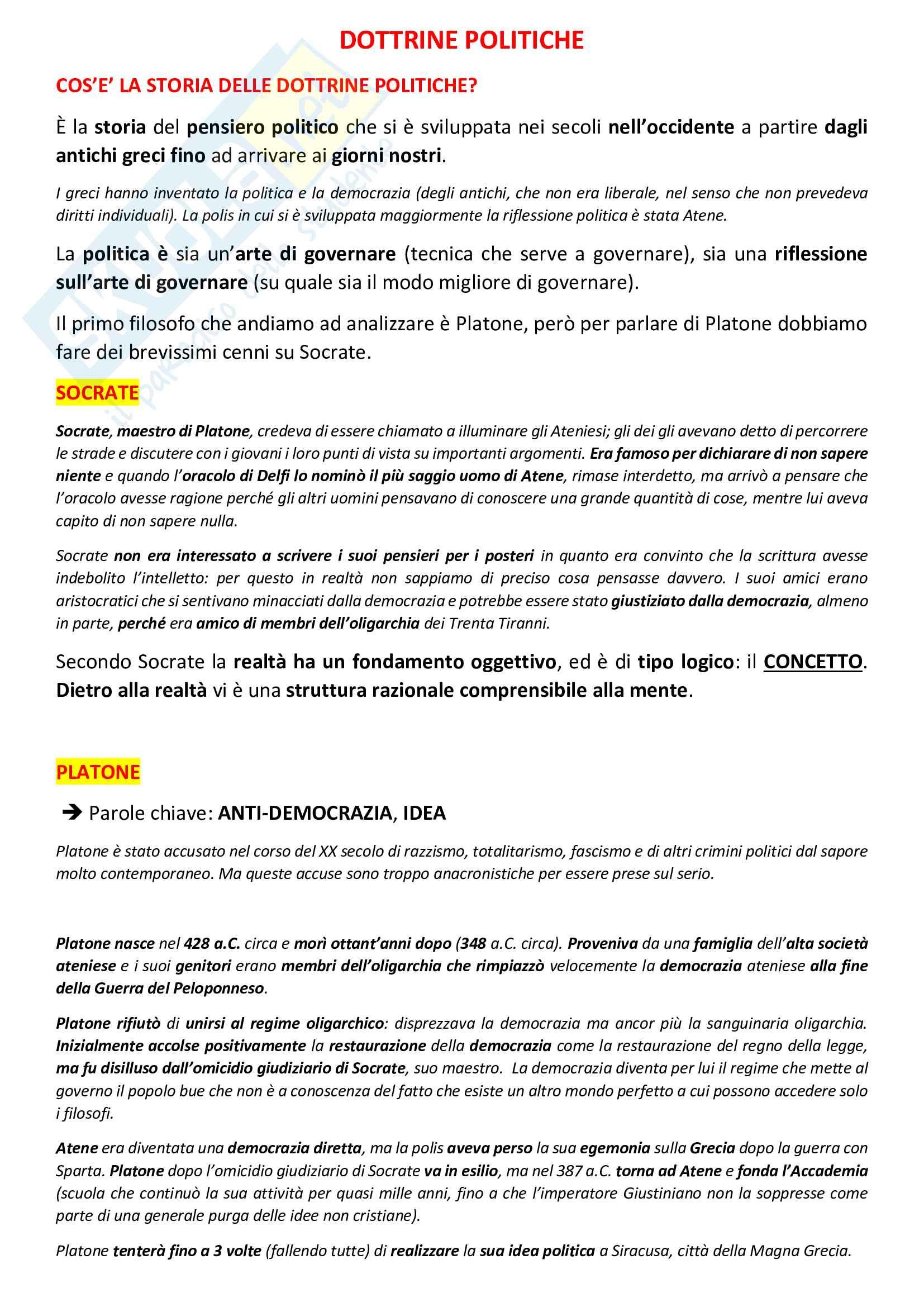 Storia delle dottrine politiche (completo) prof. Berti