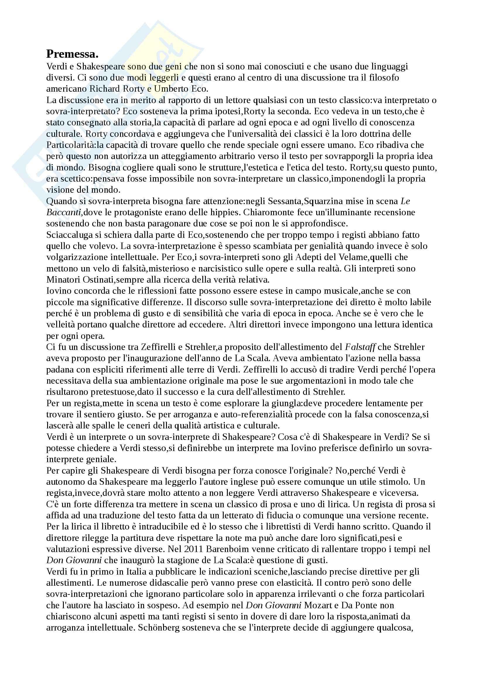 Riassunto esame Regia, prof. Sciaccaluga, libro consigliato Verdi e Shakespeare, un dialogo