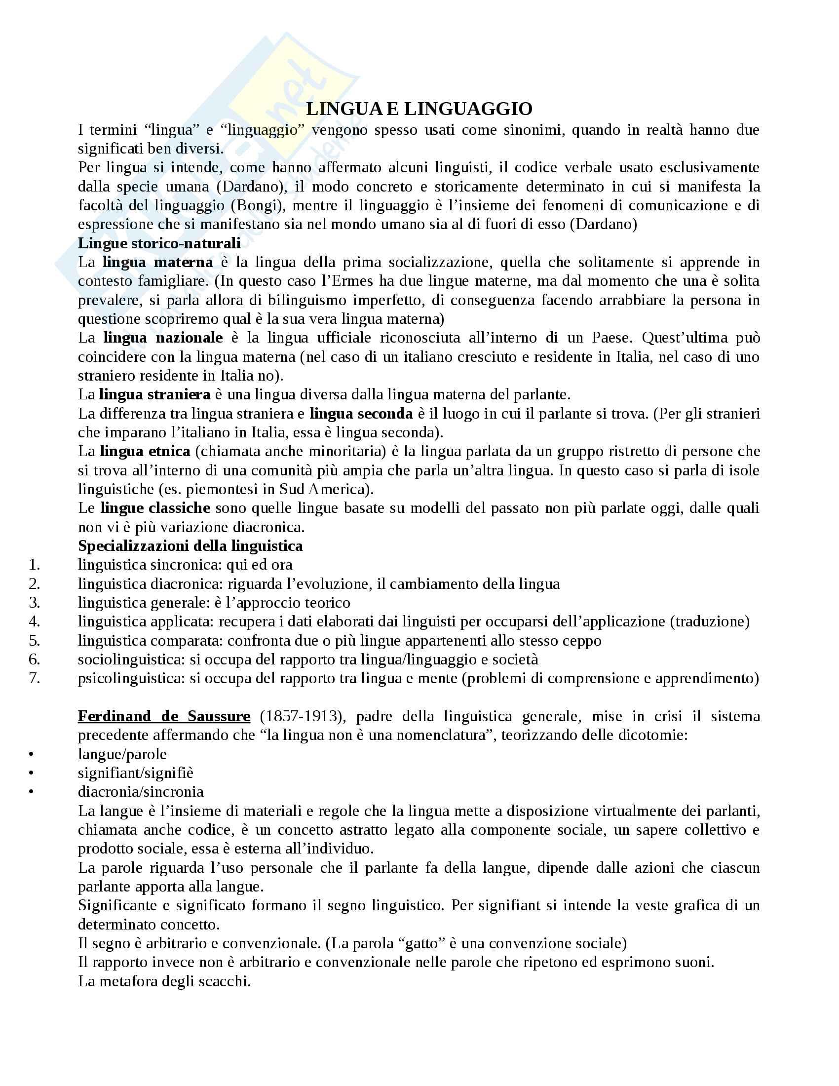 Appunti completi Linguistica Italiana - Prof. Cacia