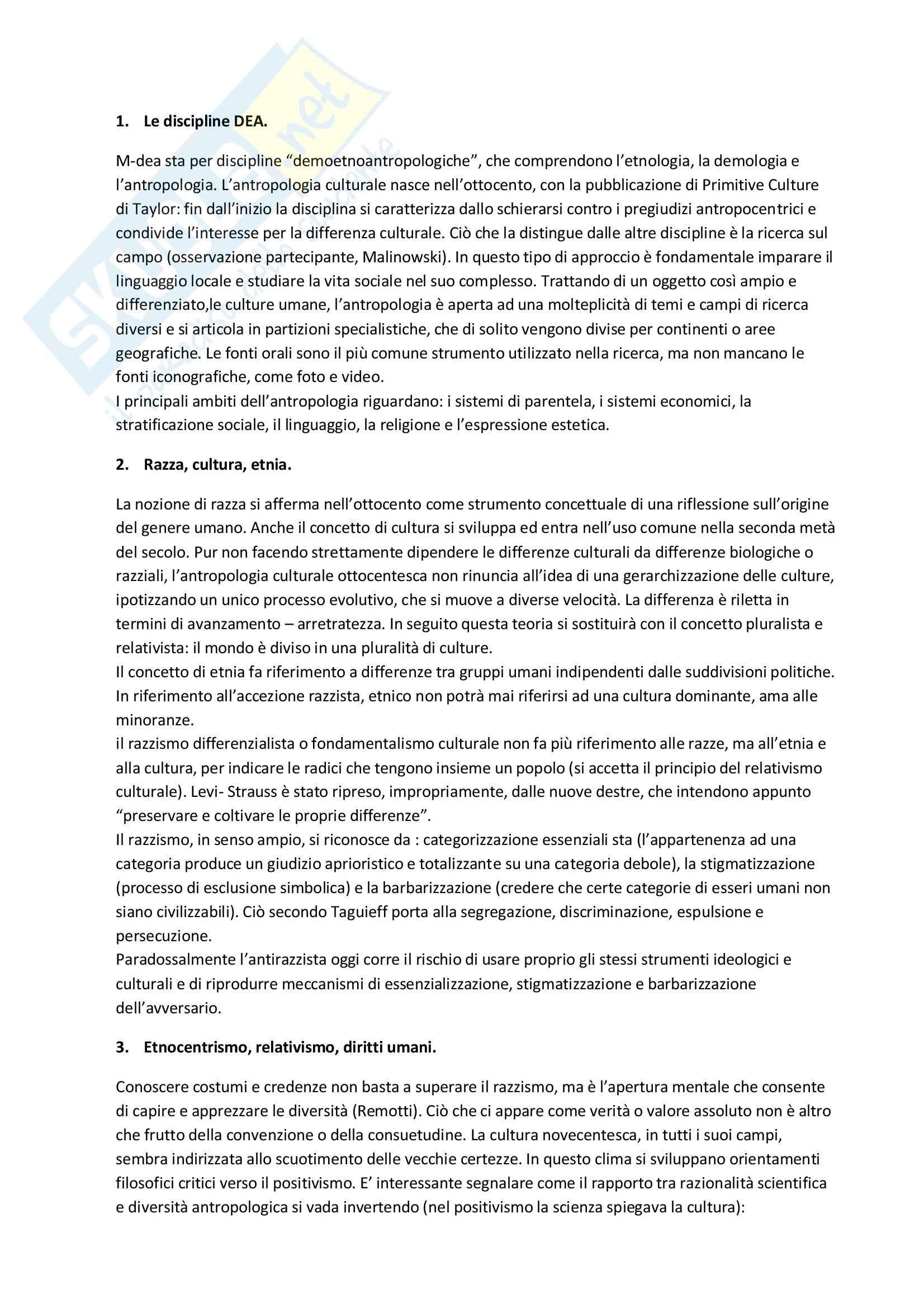Riassunto esame Antropologia culturale, prof. Broccolini, libro consigliato Antropologia Culturale, Dei
