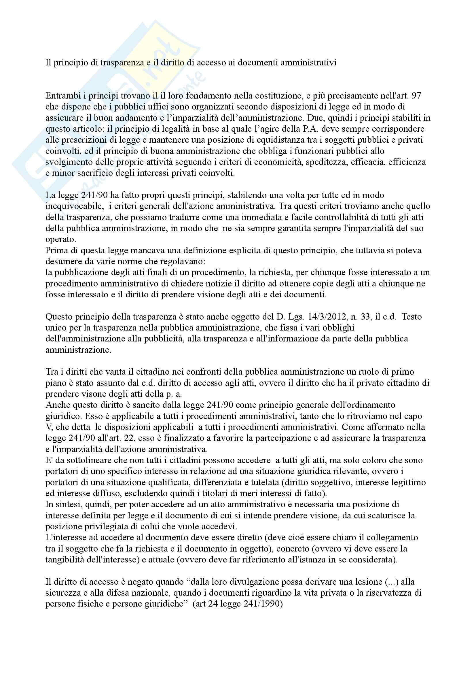 Diritto amministrativo - il diritto di accesso agli atti