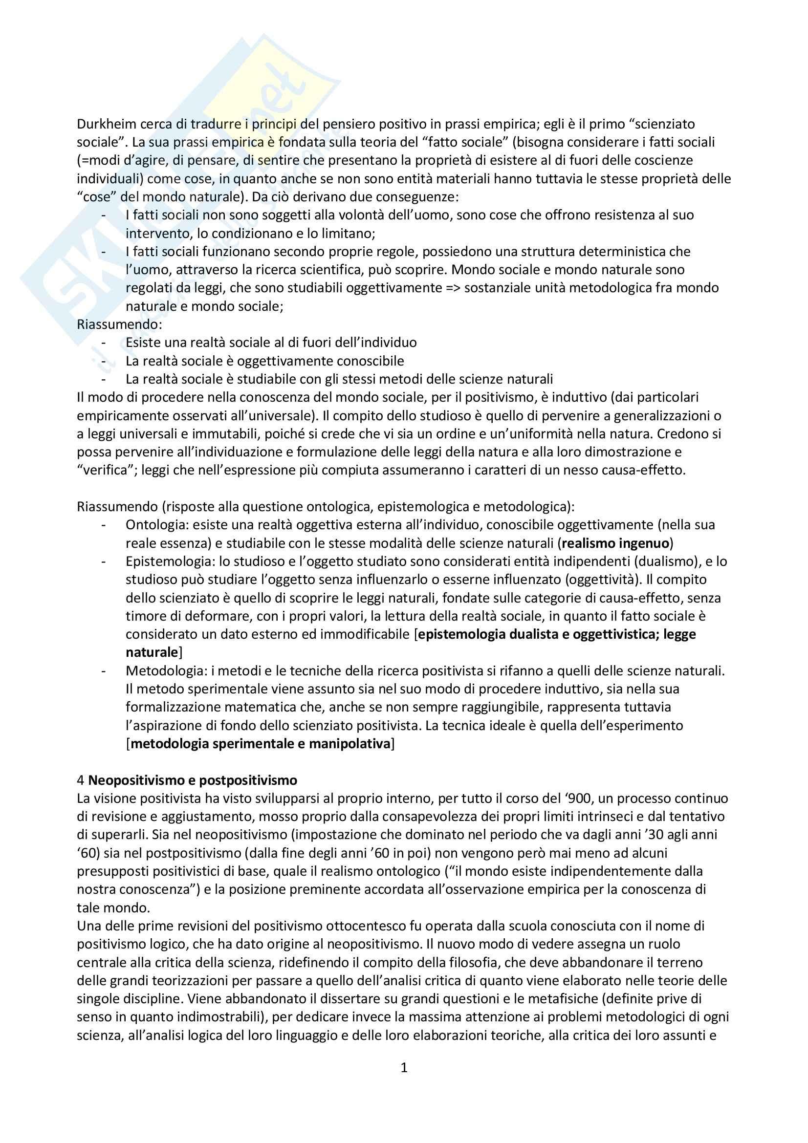 Riassunto esame Sociologia Generale, prof. Greco, libro consigliato Metodologia e Tecnica della Ricerca Sociale, Corbetta