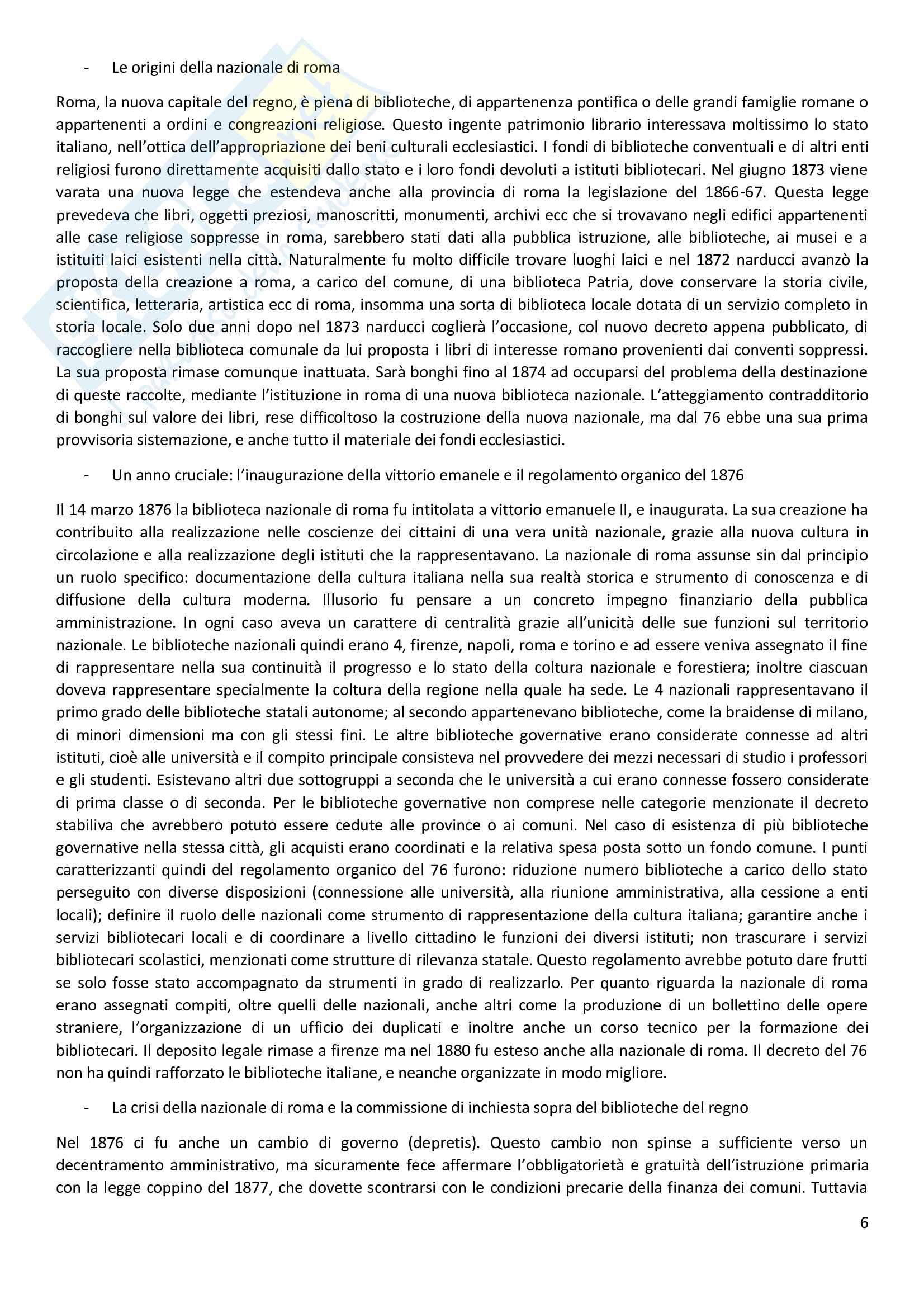 Riassunto esame Scienze Documentarie, prof. Vivarelli, libro consigliato Storia delle biblioteche in italia, Trainello Pag. 6