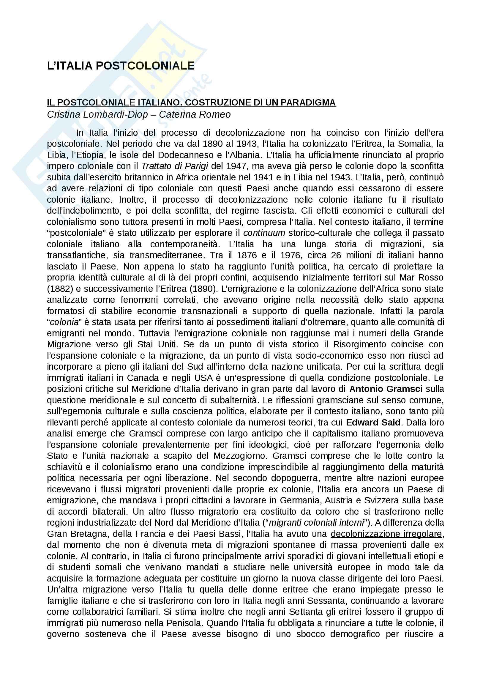 Riassunto esame Critica letteraria, prof. Romeo, libro consigliato L'Italia postcoloniale, Caterina Romeo, Cristina Lombardi-Diop