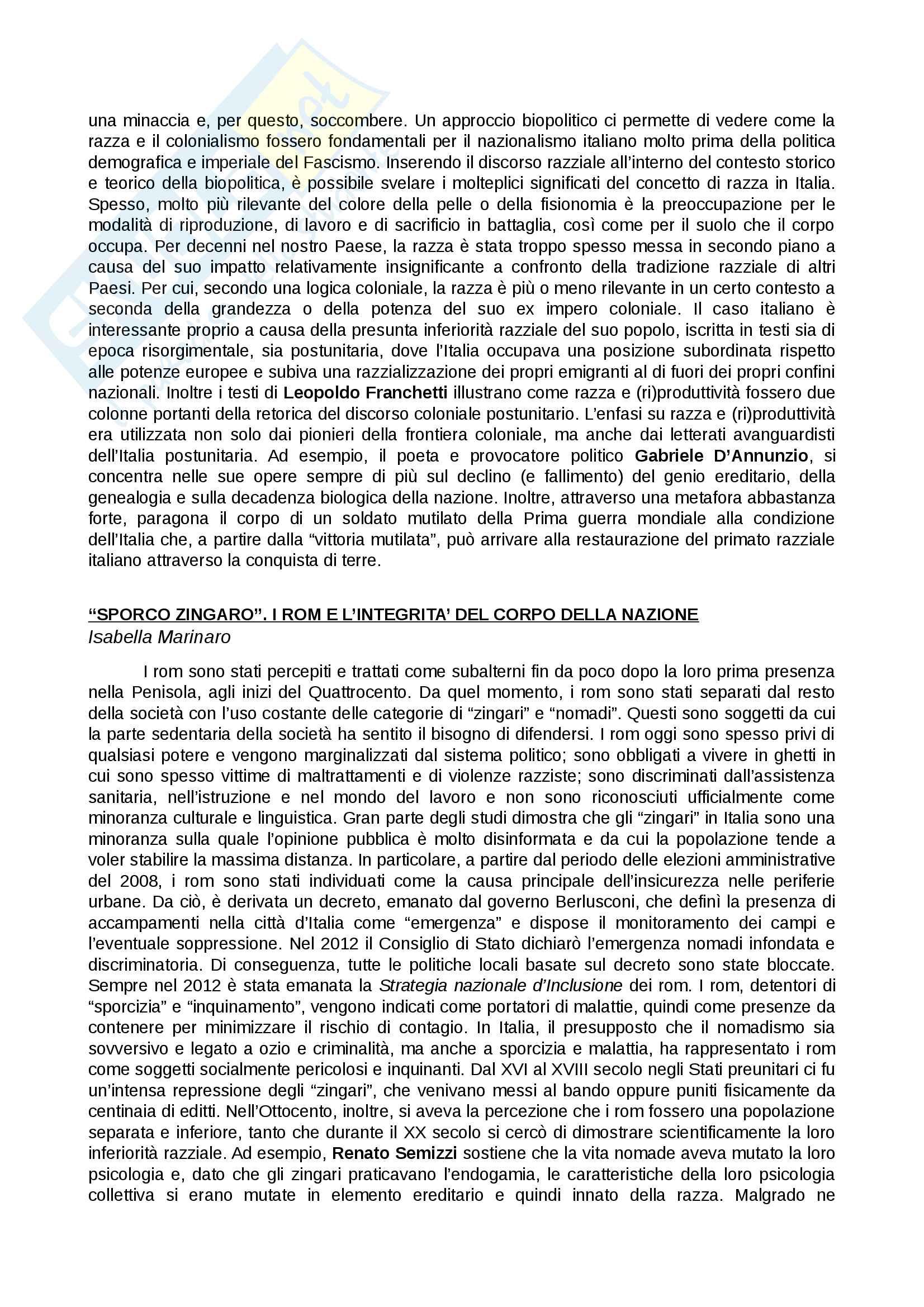 Riassunto esame Critica letteraria, prof. Romeo, libro consigliato L'Italia postcoloniale, Caterina Romeo, Cristina Lombardi-Diop Pag. 6