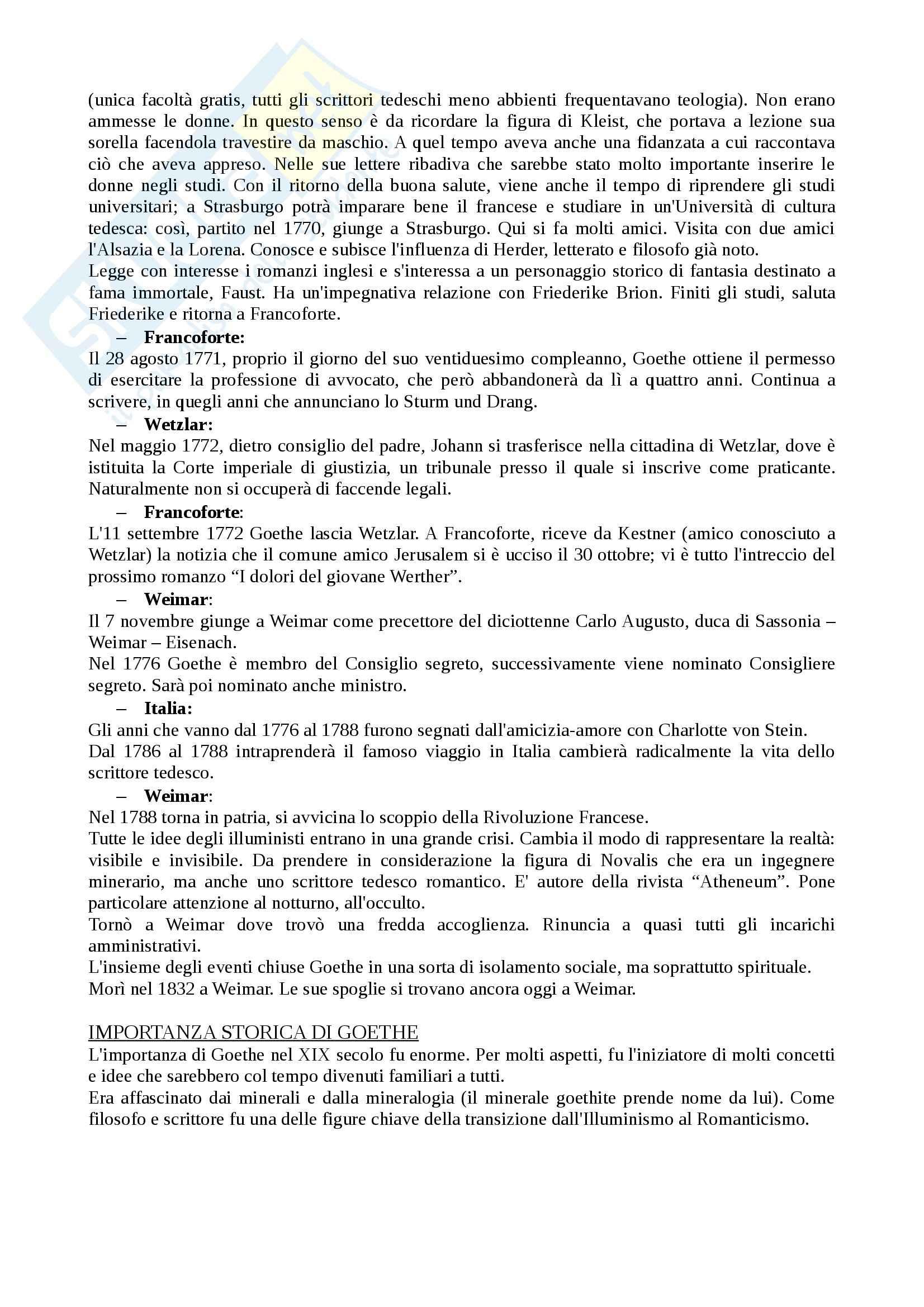 Letteratura tedesca - Goethe Pag. 2