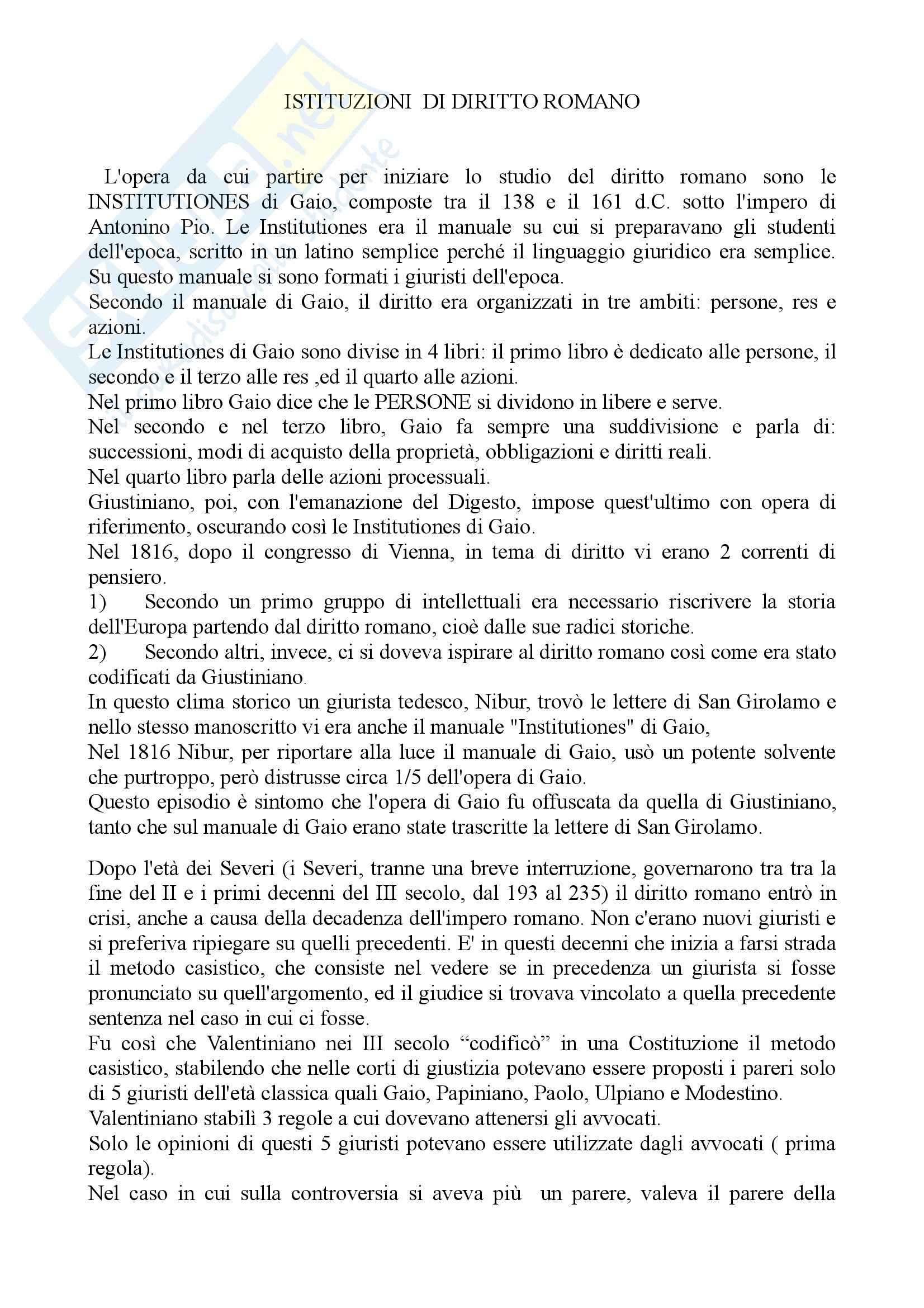 Diritto romano - Institutione di Gaio