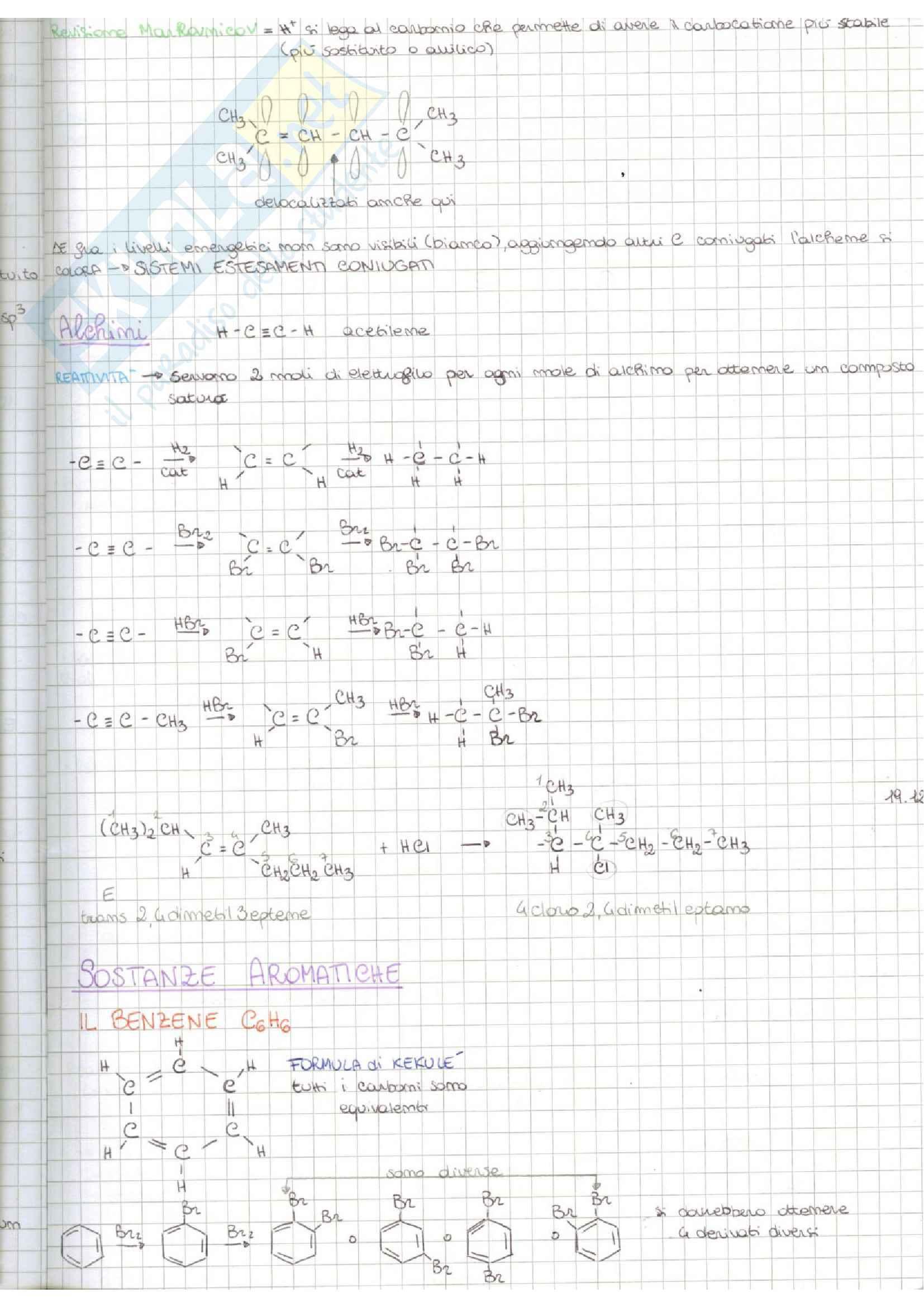 Alchini, sostanze aromatiche, reattività, benzene, regola di Huckel