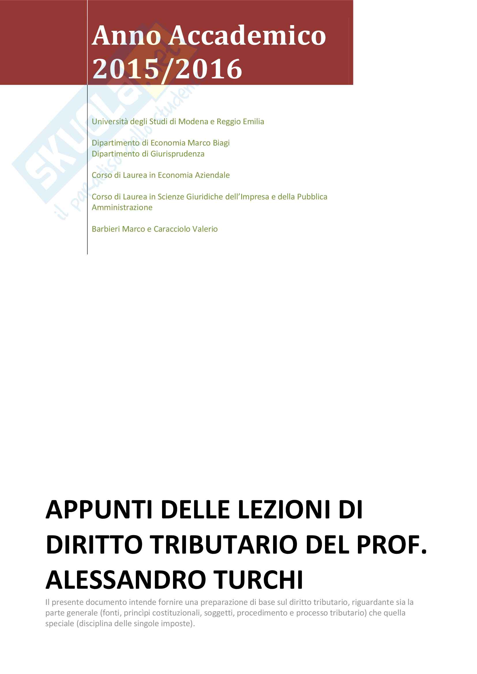 Appunti delle lezioni di Diritto Tributario del Prof. Alessandro Turchi, Anno Accademico 2015/2016