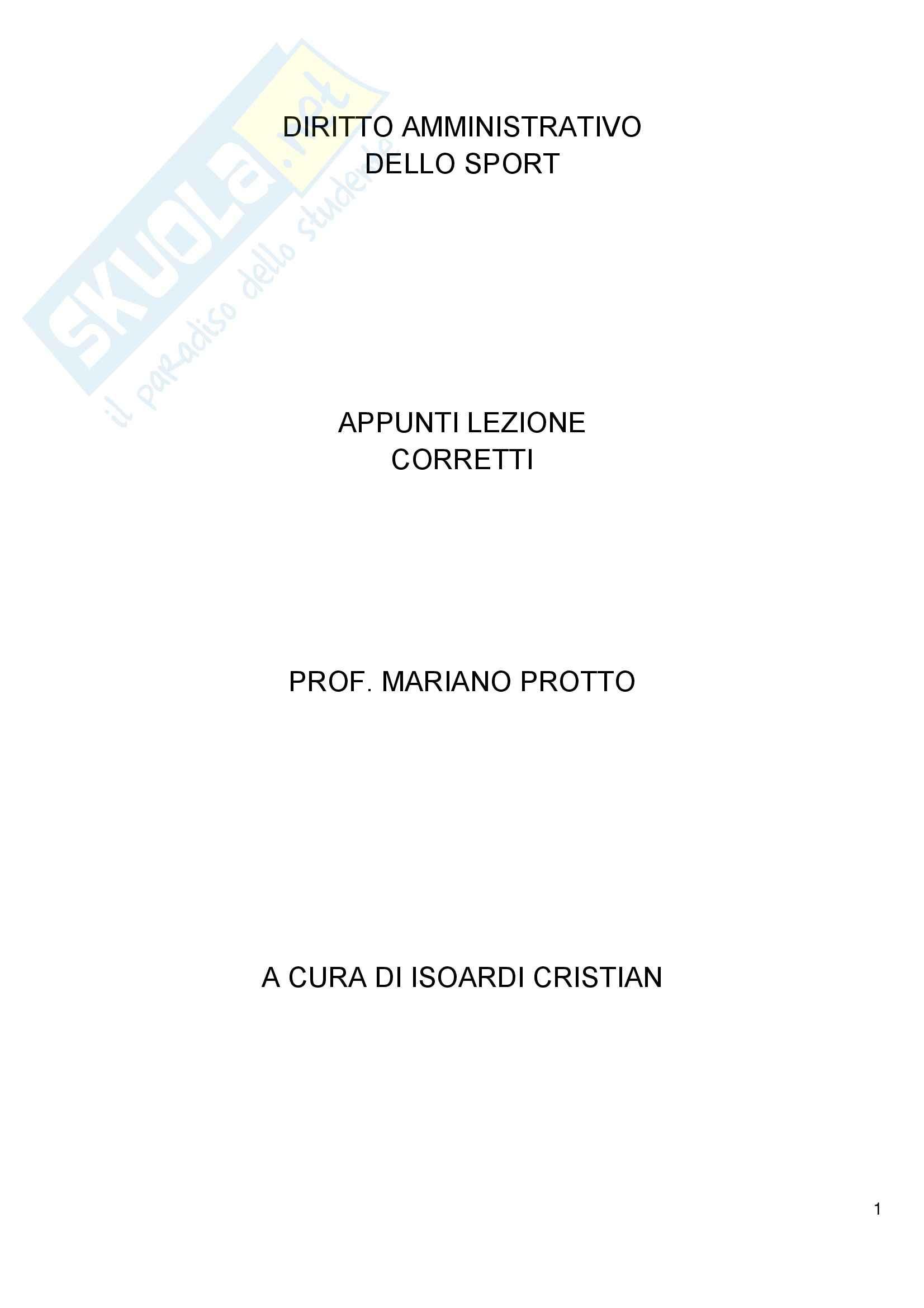 Diritto amministrativo dello sport - Appunti