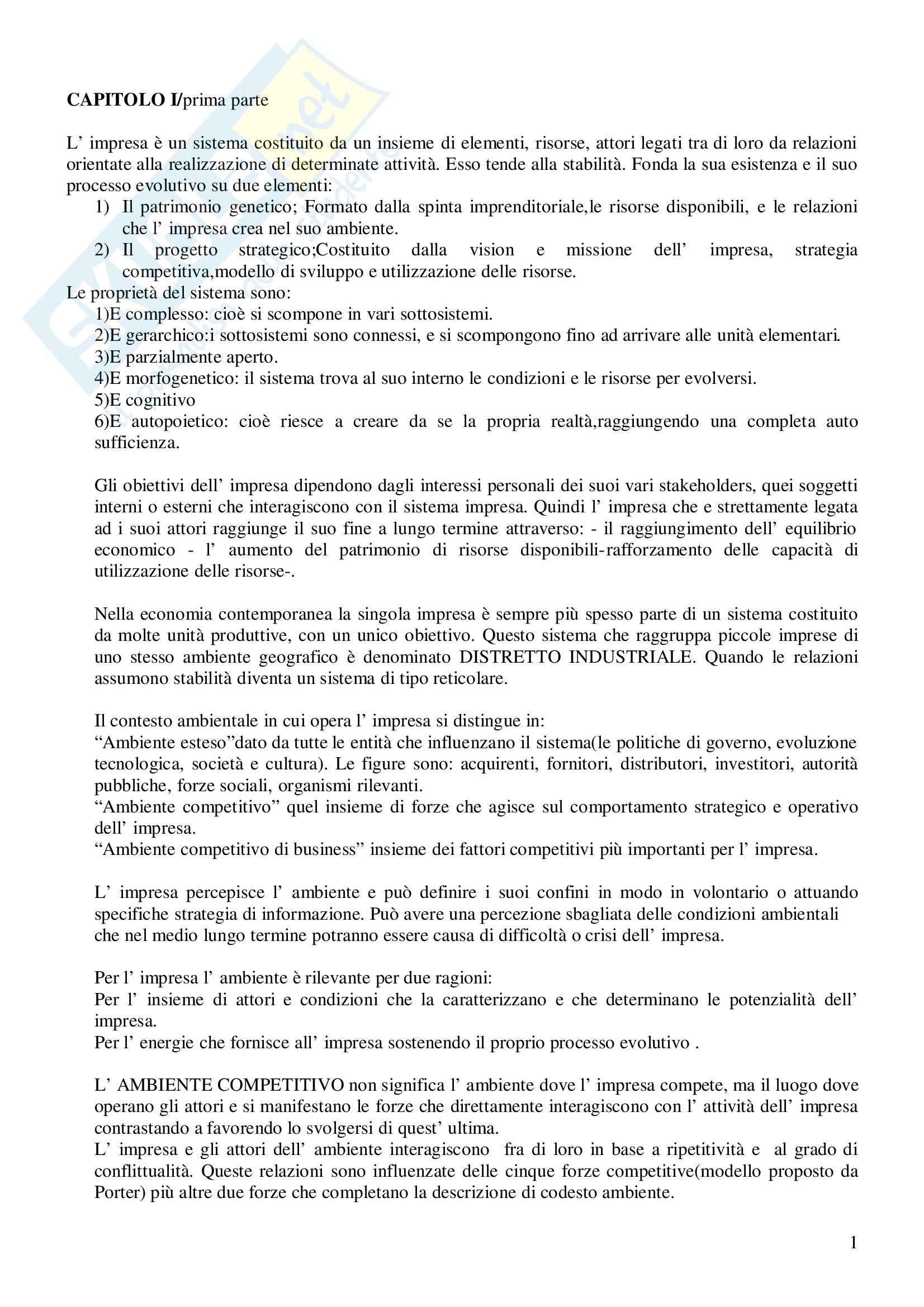 Riassunto esame Economia e Gestione delle Imprese, prof. Gatti, libro consigliato Economia e Gestione delle Imprese, Fontana, Caroli