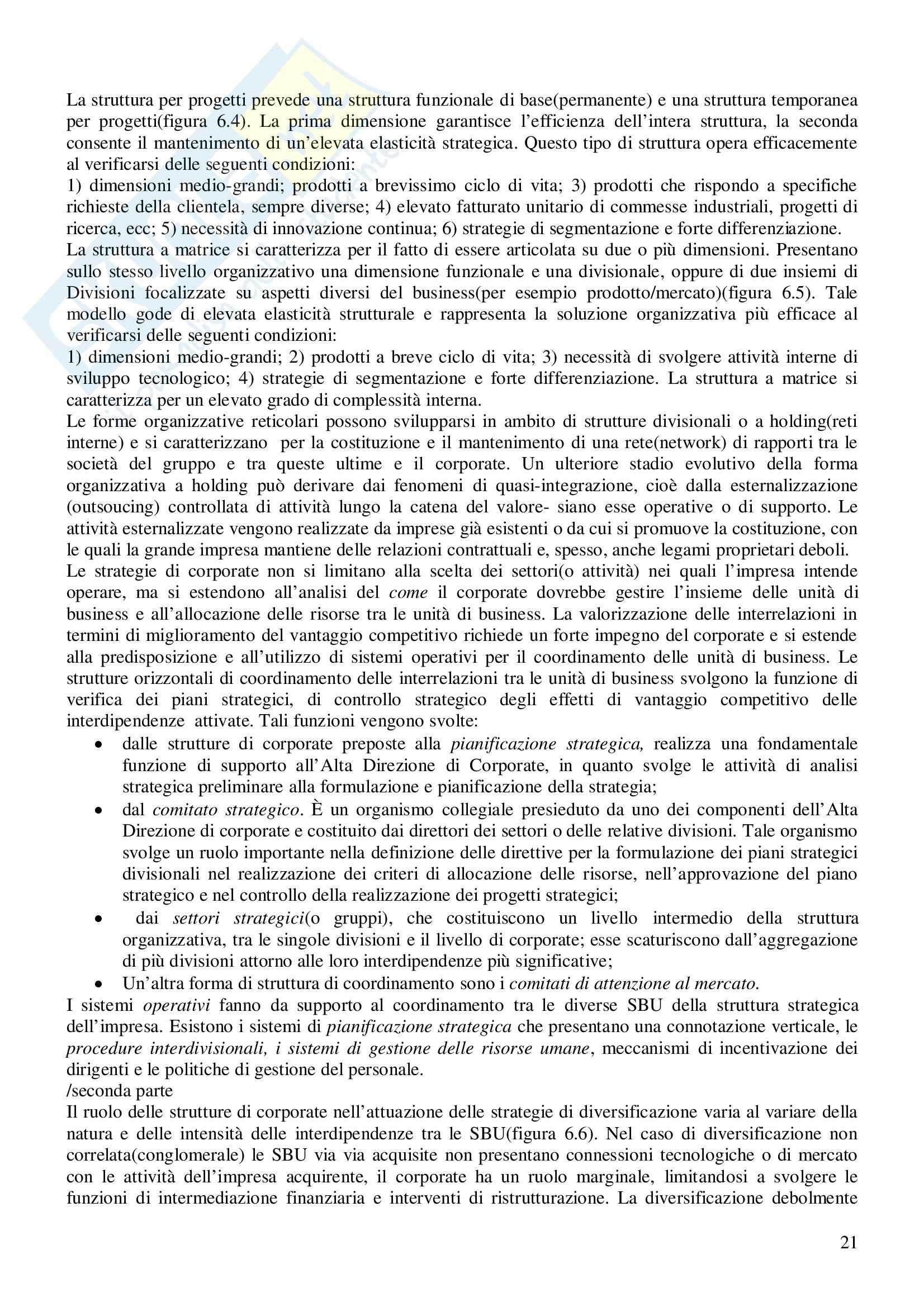 Riassunto esame Economia e Gestione delle Imprese, prof. Gatti, libro consigliato Economia e Gestione delle Imprese, Fontana, Caroli Pag. 21