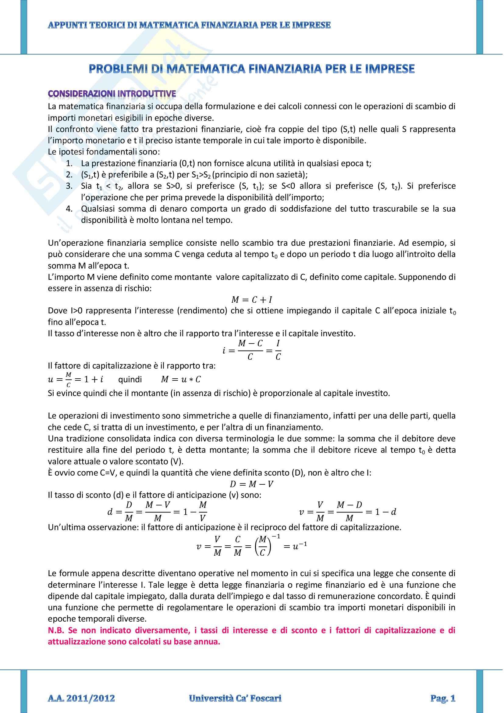 Riassunto esame Matematica Finanziaria per le Imprese, prof. Corazza, libro consigliato Elementi di Matematica Finanziaria, Basso, Pianca