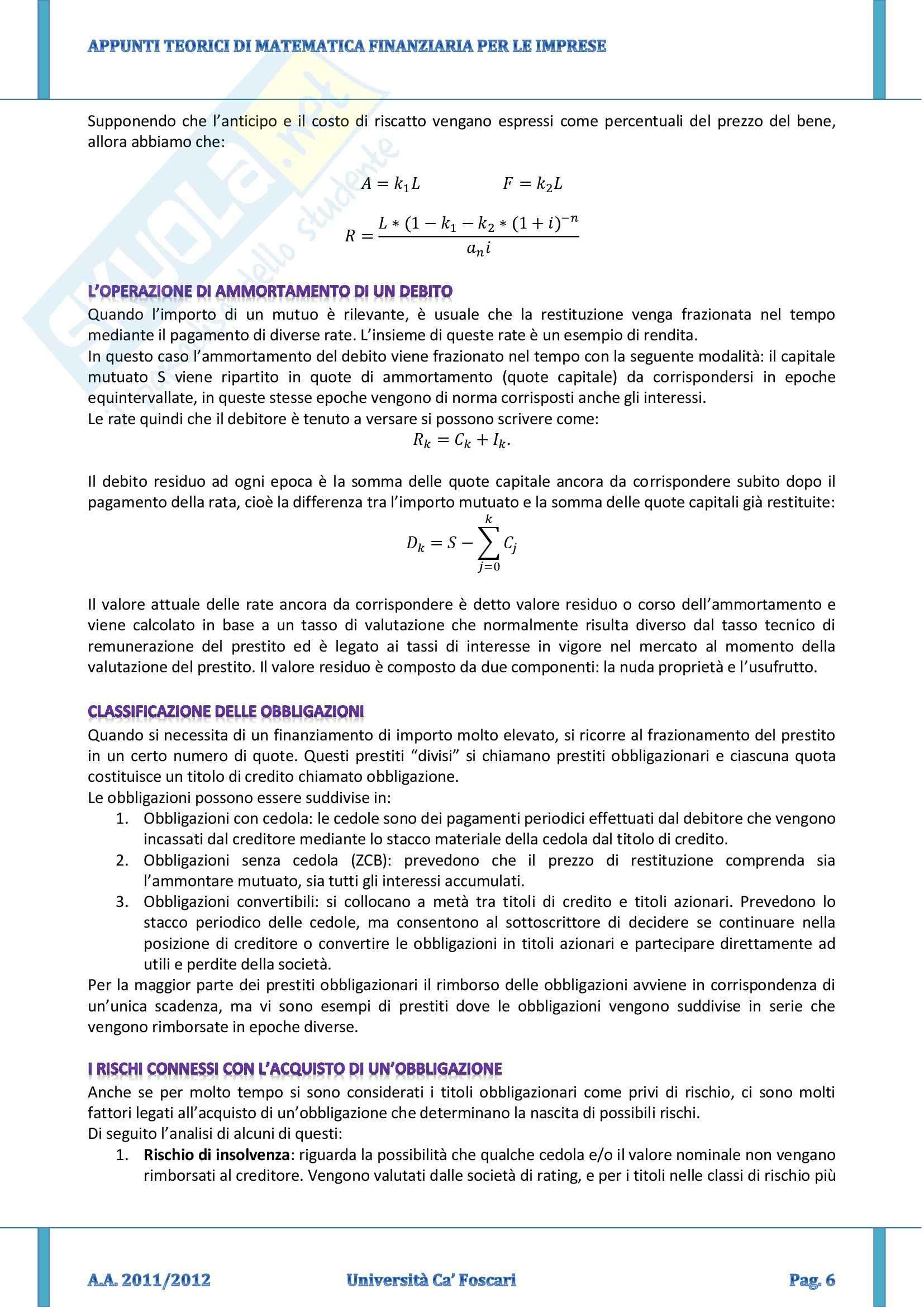Riassunto esame Matematica Finanziaria per le Imprese, prof. Corazza, libro consigliato Elementi di Matematica Finanziaria, Basso, Pianca Pag. 6