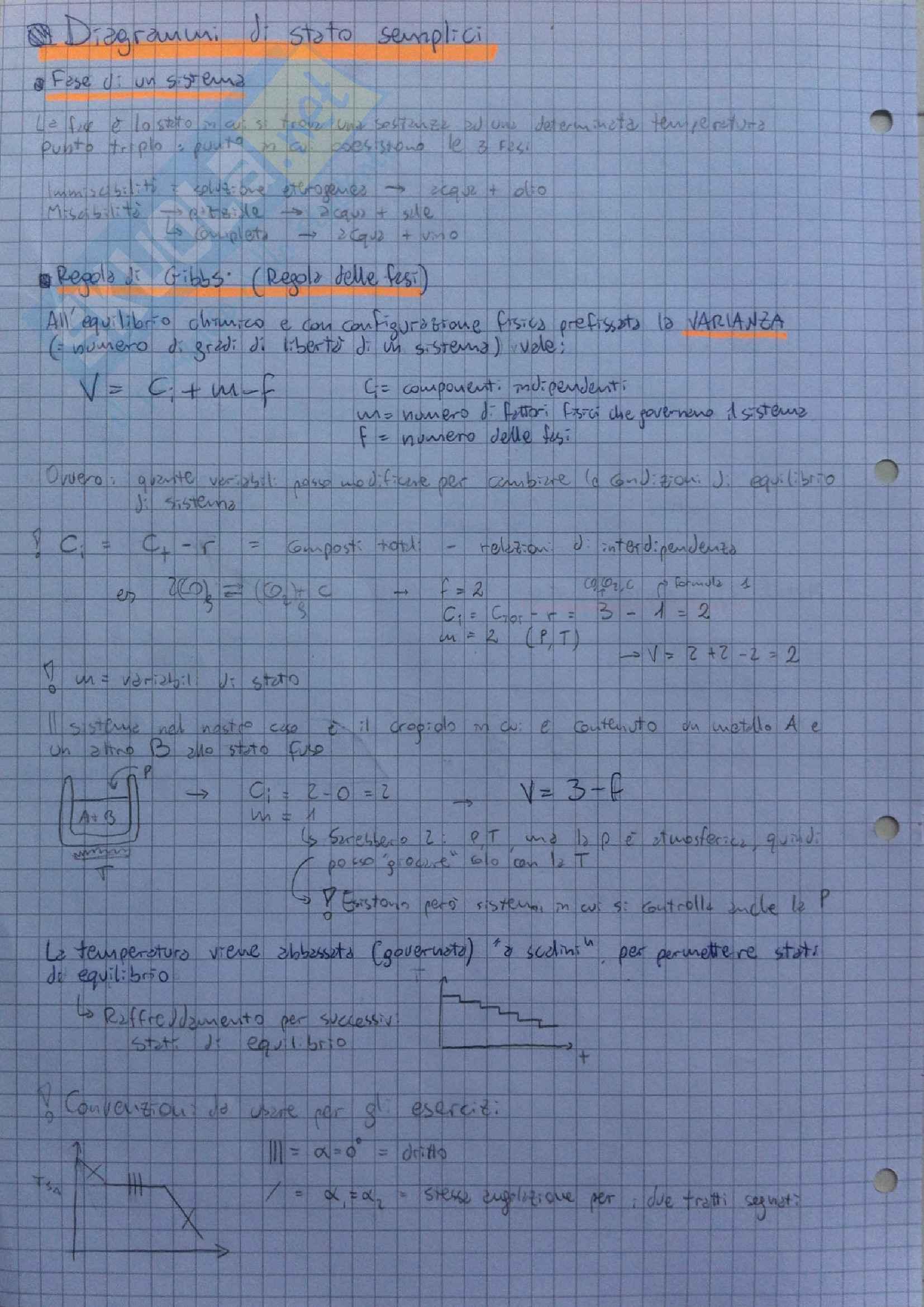Metallurgia e materiali non metallici - diagrammi di stato semplici