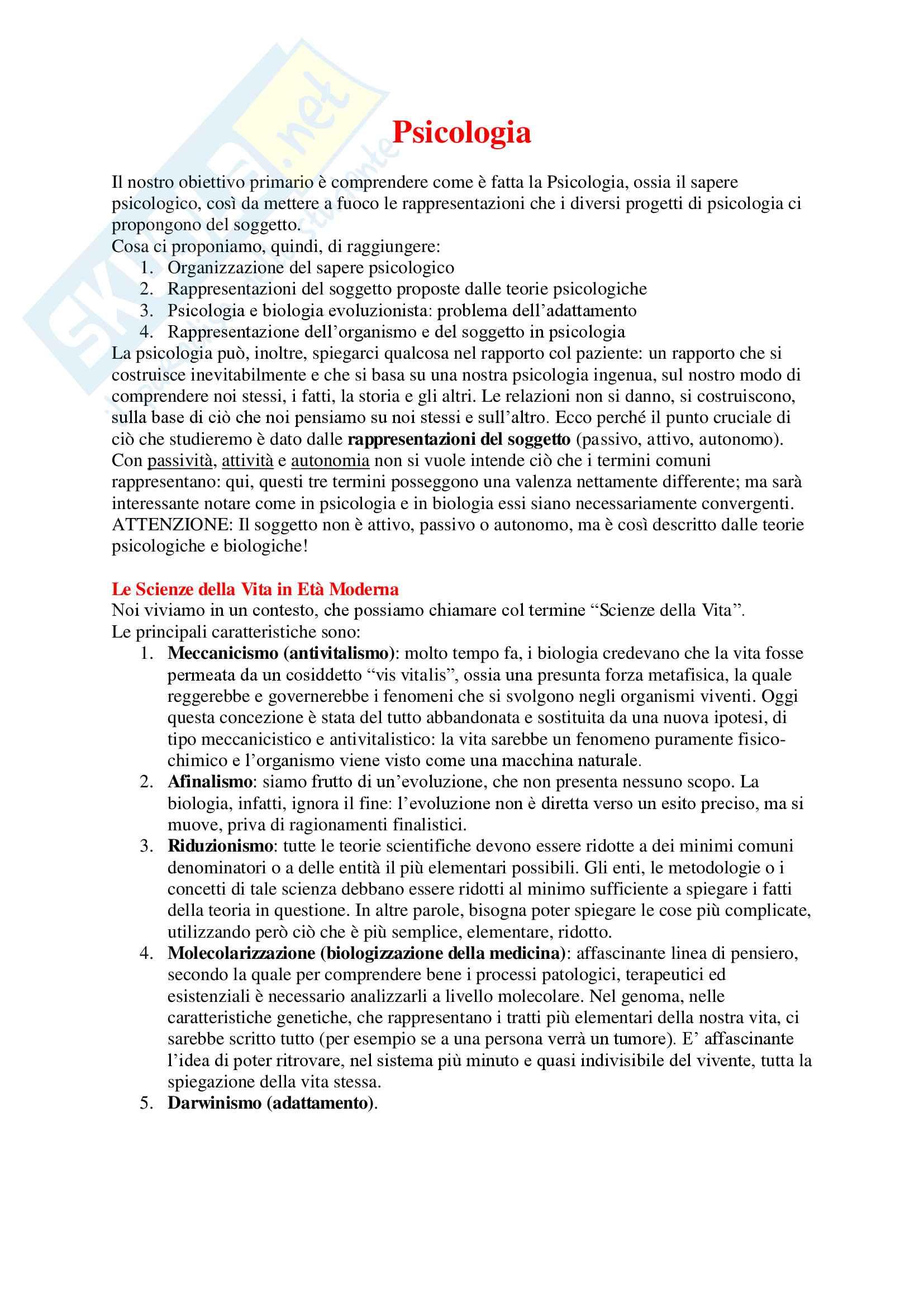 Psicologia - Appunti Completi