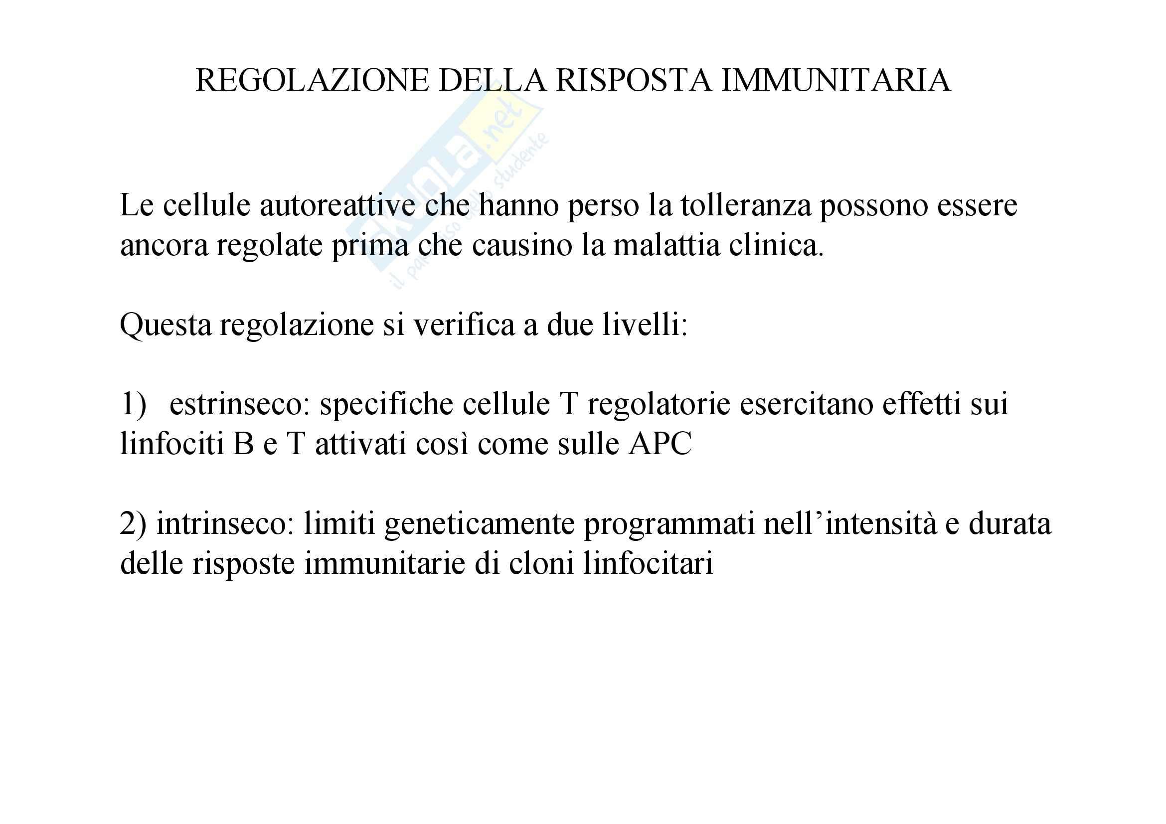 Immunologia - regolazione della risposta immunitaria