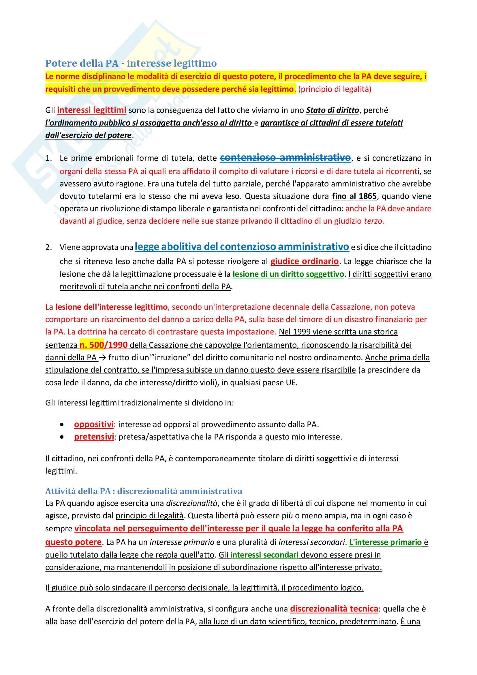 Appunti Amministrativo 2 - Prof. Acquarone + Domande esame tipiche Pag. 6