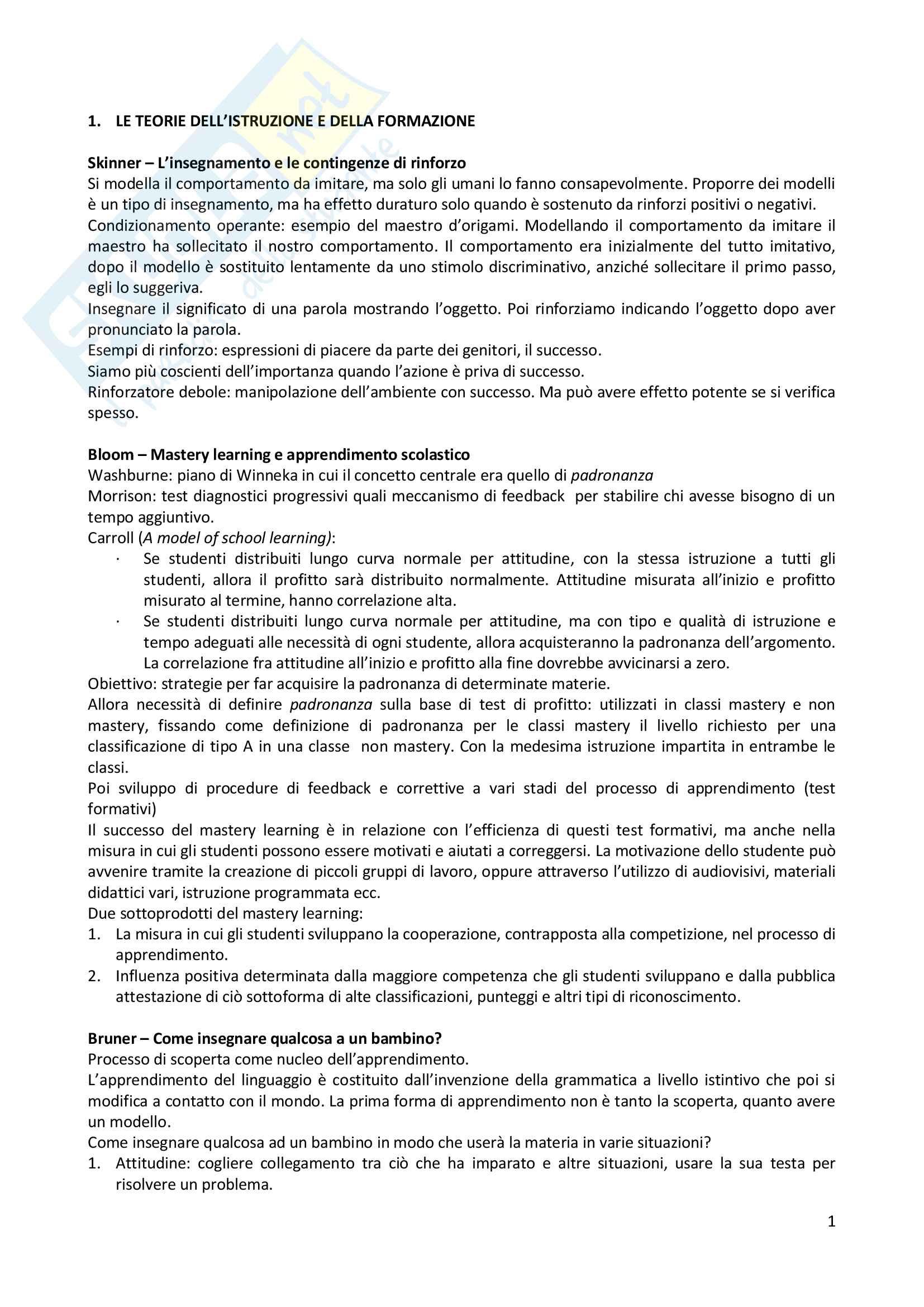 Riassunto esame pedagogia generale scritto, prof Federico Zamengo, libro consigliato I significati dell'educazione di G. Chiosso